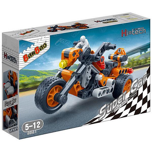 Конструктор Мотоцикл, 118 дет., BanBaoПластмассовые конструкторы<br>Характеристики:<br><br>• тип игрушки: конструктор;<br>• возраст: от 5 лет;<br>• количество деталей: 118 шт; <br>• комплект: детали конструктора, инструкция;<br>• размер:  23x5x15 см;<br>• бренд: BanBao;<br>• упаковка: картонная коробка;<br>• материал: пластик.<br><br>Конструктор «Мотоцикл», 118 дет., BanBao познакомит ребенка с интересной профессией. В набор входят элементы в количестве 118 штук, которые легко стыкуются между собой креплению. Детали сделаны из нетоксичного пластика и отличаются высокой прочностью и износоустойчивостью.<br><br>Собранная модель станет украшением игрушечного гаража и гордостью ребёнка, подвижные колёса позволяет катать мотоцикл по поверхности. Модель повторяет все внешние особенности реального прототипа и исполнена с подробной детализацией. Мотоцикл оснащен функциональными колёсами, что позволяет катать её по поверхности.<br><br>Занятия с конструктором развивают концентрацию внимания, усидчивость, логическое и пространственное мышление, а также совершенствуют моторику рук. Этот набор подойдет для детей от 5 лет и старше.<br><br>Конструктор «Мотоцикл», 118 дет., BanBao можно купить в нашем интернет-магазине.<br>Ширина мм: 230; Глубина мм: 150; Высота мм: 50; Вес г: 222; Возраст от месяцев: 60; Возраст до месяцев: 1188; Пол: Мужской; Возраст: Детский; SKU: 5528497;