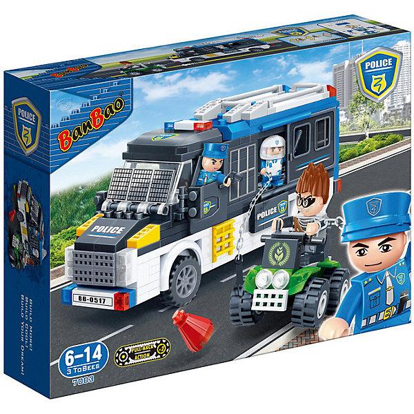 Конструктор Полицейская машина, 325 дет., BanBaoПластмассовые конструкторы<br>Характеристики:<br><br>• тип игрушки: конструктор;<br>• возраст: от 6 лет;<br>• количество деталей: 325 шт; <br>• комплект: детали конструктора, 3 фигурки, аксессуары;<br>• размер: 33х24х7 см;<br>• бренд: BanBao;<br>• упаковка: картонная коробка;<br>• материал: пластик.<br><br>Конструктор «Полицейская машина», 325 дет., BanBao познакомит ребенка с интересной профессией. В набор входят элементы в количестве 325 штук, которые легко стыкуются между собой креплению. Детали сделаны из нетоксичного пластика и отличаются высокой прочностью и износоустойчивостью.<br><br> Из многочисленных деталей конструктора ребёнок сможет собрать полицейскую машину и машину преступника для увлекательного сюжета преследования. Автомобиль сбежавшего преступника имеет кабину открытого типа, 4 мощные рифлёные колеса и управляется рычагами. В комплекте находятся игровые фигурки 2- полицейских и преступника.<br><br>Занятия с конструктором развивают концентрацию внимания, усидчивость, логическое и пространственное мышление, а также совершенствуют моторику рук. Этот набор подойдет для детей от 6 лет и старше.<br><br>Конструктор «Полицейская машина», 325 дет., BanBao можно купить в нашем интернет-магазине.<br>Ширина мм: 330; Глубина мм: 240; Высота мм: 70; Вес г: 731; Возраст от месяцев: 60; Возраст до месяцев: 1188; Пол: Мужской; Возраст: Детский; SKU: 5528503;