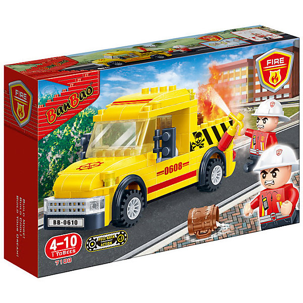 Конструктор Пожарная машина, 105 дет., BanBaoПластмассовые конструкторы<br>Характеристики:<br><br>• тип игрушки: конструктор;<br>• возраст: от 4 лет;<br>• количество деталей: 105 шт; <br>• размер: 23x15x5 см;<br>• бренд: BanBao;<br>• упаковка: картонная коробка;<br>• материал: пластик.<br><br>Конструктор «Пожарная машина» 105 дет., BanBao познакомит ребенка с интересным занятием. В набор входят элементы в количестве 105 штук, которые легко стыкуются между собой креплению. Детали сделаны из нетоксичного пластика и отличаются высокой прочностью и износоустойчивостью.<br><br>Следуя инструкции, ребенок соберет пожарную машину. Модель автомобиля выполнена в реалистичной манере, подробно детализирована, оснащена функциональными колёсами. Набор дополнен миниатюрной фигуркой с подвижными руками, в которые можно закрепить игровые аксессуары. Детали конструктора выполнены из цветного качественного пластика, который не содержит в составе вредных веществ и не вызовет аллергической реакции.<br><br>Занятия с конструктором развивают концентрацию внимания, усидчивость, логическое и пространственное мышление, а также совершенствуют моторику рук. Этот набор подойдет для детей от 4 лет и старше.<br><br>Конструктор «Пожарная машина» 105 дет., BanBao можно купить в нашем интернет-магазине.<br><br>Ширина мм: 230<br>Глубина мм: 150<br>Высота мм: 50<br>Вес г: 261<br>Возраст от месяцев: 60<br>Возраст до месяцев: 1188<br>Пол: Мужской<br>Возраст: Детский<br>SKU: 5528514