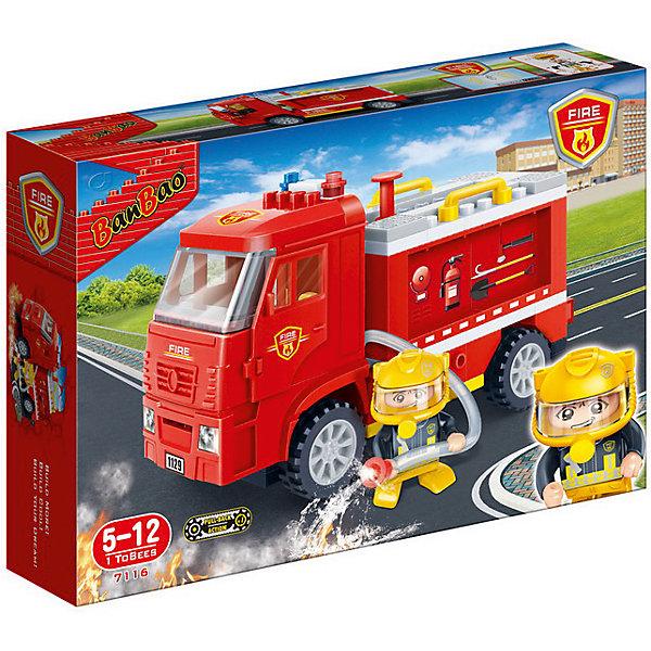Конструктор Пожарная машина, инерц., 126 дет., BanBaoПластмассовые конструкторы<br>Характеристики:<br><br>• возраст: от 5 лет;<br>• тип игрушки: конструктор пожарная машина;<br>• размер: 28.2х19х5.6 см;<br>• вес: 400гр;<br>• материал: пластик;<br>• бренд: BanBao;<br>• количество деталей: 126;<br>• страна производитель: Китай.<br><br>Конструктор «Пожарная машина» 126 дет., BanBao тематический набор для игры всей семьей. Игрушка подходит для детей от пяти лет, в комплекте есть подборная инструкция по сборке. Но такое развлечение сблизит всех членов семьи и поможет разнообразить совместный досуг. Дети при этом станут более внимательными к деталям, улучшат мелкую моторику рук и разовьют образное мышление.<br><br>Игрушка оснащена инерционным механизмом, позволяющим сделать игру малыша еще более интересной и захватывающей. В машинке присутствует подвижный шланг, крепящийся к фигурке пожарника. На фигурке есть огнеупорный шлем и специальный костюм, как у настоящего спасателя. <br><br>Для производства используются только высококачественные и безопасные красители, новейшие пресс-формы, поэтому каждый элемент конструктора имеет идеально гладкую поверхность, а цвета разнообразны и насыщены. Конструктор совместим с другими конструкторами BanBao  и Lego.<br><br>Конструктор «Пожарная машина» 126 дет., BanBao можно купить в нашем интернет-магазине.<br><br>Ширина мм: 280<br>Глубина мм: 190<br>Высота мм: 56<br>Вес г: 454<br>Возраст от месяцев: 60<br>Возраст до месяцев: 1188<br>Пол: Мужской<br>Возраст: Детский<br>SKU: 5528516