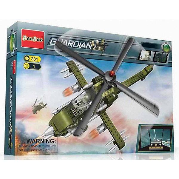 Конструктор Военный вертолет, 231 дет., BanBaoПластмассовые конструкторы<br>Характеристики:<br><br>• тип игрушки: конструктор;<br>• возраст: от 5 лет;<br>• количество деталей: 231 шт; <br>• размер: 25х16х5 см;<br>• бренд: BanBao;<br>• упаковка: картонная коробка;<br>• материал: пластик.<br><br>Конструктор «Военный вертолет»,  231 дет., BanBao познакомит ребенка с интересным занятием. В набор входят элементы в количестве 231 штук, которые легко стыкуются между собой креплению. Детали сделаны из нетоксичного пластика и отличаются высокой прочностью и износоустойчивостью.<br><br>Благодаря такому конструктору ребёнок сможет создать детализированный военный вертолет. Детали конструктора выполнены из цветного качественного пластика, который не содержит в составе вредных веществ и не вызовет аллергической реакции.<br>Занятия с конструктором развивают концентрацию внимания, усидчивость, логическое и пространственное мышление, а также совершенствуют моторику рук. Этот набор подойдет для детей от 5 лет и старше.<br><br>Конструктор «Военный вертолет», 231 дет., BanBao можно купить в нашем интернет-магазине.<br><br>Ширина мм: 282<br>Глубина мм: 190<br>Высота мм: 56<br>Вес г: 425<br>Возраст от месяцев: 60<br>Возраст до месяцев: 1188<br>Пол: Мужской<br>Возраст: Детский<br>SKU: 5528523