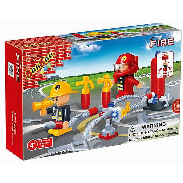 Конструктор Пожарная дружина, 58 дет., BanBaoПластмассовые конструкторы<br>Характеристики:<br><br>• возраст: от 5 лет;<br>• тип игрушки: конструктор;<br>• размер: 16x10x3.5 см;<br>• материал: пластик;<br>• бренд: BanBao;<br>• количество деталей: 58;<br>• упаковка: картонная коробка;<br>• страна производитель: Китай.<br><br>Конструктор «Пожарная дружина» 58 дет., BanBao - тематический набор для игры всей семьей. Игрушка подходит для детей от пяти лет, в комплекте есть подборная инструкция по сборке. Но такое развлечение сблизит всех членов семьи и поможет разнообразить совместный досуг. Дети при этом станут более внимательными к деталям, улучшат мелкую моторику рук и разовьют образное мышление.<br><br>Конструктор детский имеет  58 деталей  и идет в наборе с 2-мя фигурками, инструкцией по сборке.  Для производства используются только высококачественные и безопасные красители, новейшие пресс-формы, поэтому каждый элемент конструктора имеет идеально гладкую поверхность, а цвета разнообразны и насыщены. Конструктор совместим с другими конструкторами BanBao  и Lego.<br><br>Конструктор «Пожарная дружина» 58 дет., BanBao можно купить в нашем интернет-магазине.<br>Ширина мм: 160; Глубина мм: 100; Высота мм: 35; Вес г: 100; Возраст от месяцев: 60; Возраст до месяцев: 1188; Пол: Мужской; Возраст: Детский; SKU: 5528530;