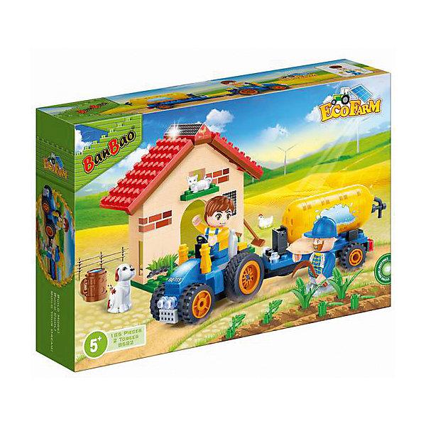 Конструктор Фермерский домик, 185 дет., BanBaoПластмассовые конструкторы<br>Характеристики:<br><br>• тип игрушки: конструктор;<br>• возраст: от 5 лет;<br>• количество деталей: 185 шт; <br>• размер: 28х19х6 см;<br>• бренд: BanBao;<br>• упаковка: картонная коробка;<br>• материал: пластик.<br><br>Конструктор «Фермерский домик»  185 дет., BanBao познакомит ребенка с интересным занятием. В набор входят элементы в количестве 315 штук, которые легко стыкуются между собой креплению. Детали сделаны из нетоксичного пластика и отличаются высокой прочностью и износоустойчивостью.<br><br>Собрав элементы конструктора в правильном порядке, дети получат не только главных героев, но и миниатюрный фермерский домик с солнечными батареями на крыше. Также из деталей можно собрать квадроцикл с прицепом, на котором закреплён баллон. Дополнительно в комплекте предусмотрены 2 фигурки, выполняющие роли работников фермы, а также животные (курочка, кошечка, собачка) и различные игровые аксессуары (инструменты, бочка, растения и др.)<br><br>Занятия с конструктором развивают концентрацию внимания, усидчивость, логическое и пространственное мышление, а также совершенствуют моторику рук. Этот набор подойдет для детей от 5 лет и старше.<br><br>Конструктор «Фермерский домик» 185 дет., BanBao можно купить в нашем интернет-магазине.<br>Ширина мм: 282; Глубина мм: 190; Высота мм: 56; Вес г: 400; Возраст от месяцев: 60; Возраст до месяцев: 1188; Пол: Унисекс; Возраст: Детский; SKU: 5528538;