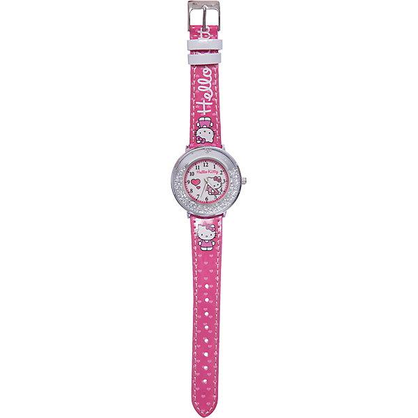 Часы наручные аналоговые, Hello KittyАксессуары<br>Эксклюзивные наручные аналоговые часы торговой марки Hello Kitty выполнены по индивидуальному дизайну ООО «Детское Время» и лицензии компании Sanrio. Обилие деталей - декоративных элементов (страз, мерцающих ремешков), надписей,  уникальных изображений - делают изделие тщательно продуманным творением мастеров. Часы имеют высококачественный японский кварцевый механизм и отличаются надежностью и точностью хода. Часы водоустойчивы и обладают достаточной герметичностью, чтобы спокойно перенести случайный и незначительный контакт с жидкостями (дождь, брызги), но они не предназначены для плавания или погружения в воду. Циферблат защищен от повреждений прочным минеральным стеклом. Корпус часов выполнен из стали,  задняя крышка из нержавеющей стали. Материал браслета: искусственная кожа. Единица товара упаковывается в стильную подарочную коробочку. Неповторимый стиль с изобилием насыщенных и в тоже время нежных гамм; надежность и прочность изделия позволяют говорить о нем только в превосходной степени!Размеры изделия: 1,5х0,1х21 (ДШВ), диаметр циф-та - 3,5 см<br>Ширина мм: 55; Глубина мм: 10; Высота мм: 250; Вес г: 32; Возраст от месяцев: 36; Возраст до месяцев: 72; Пол: Женский; Возраст: Детский; SKU: 5529320;