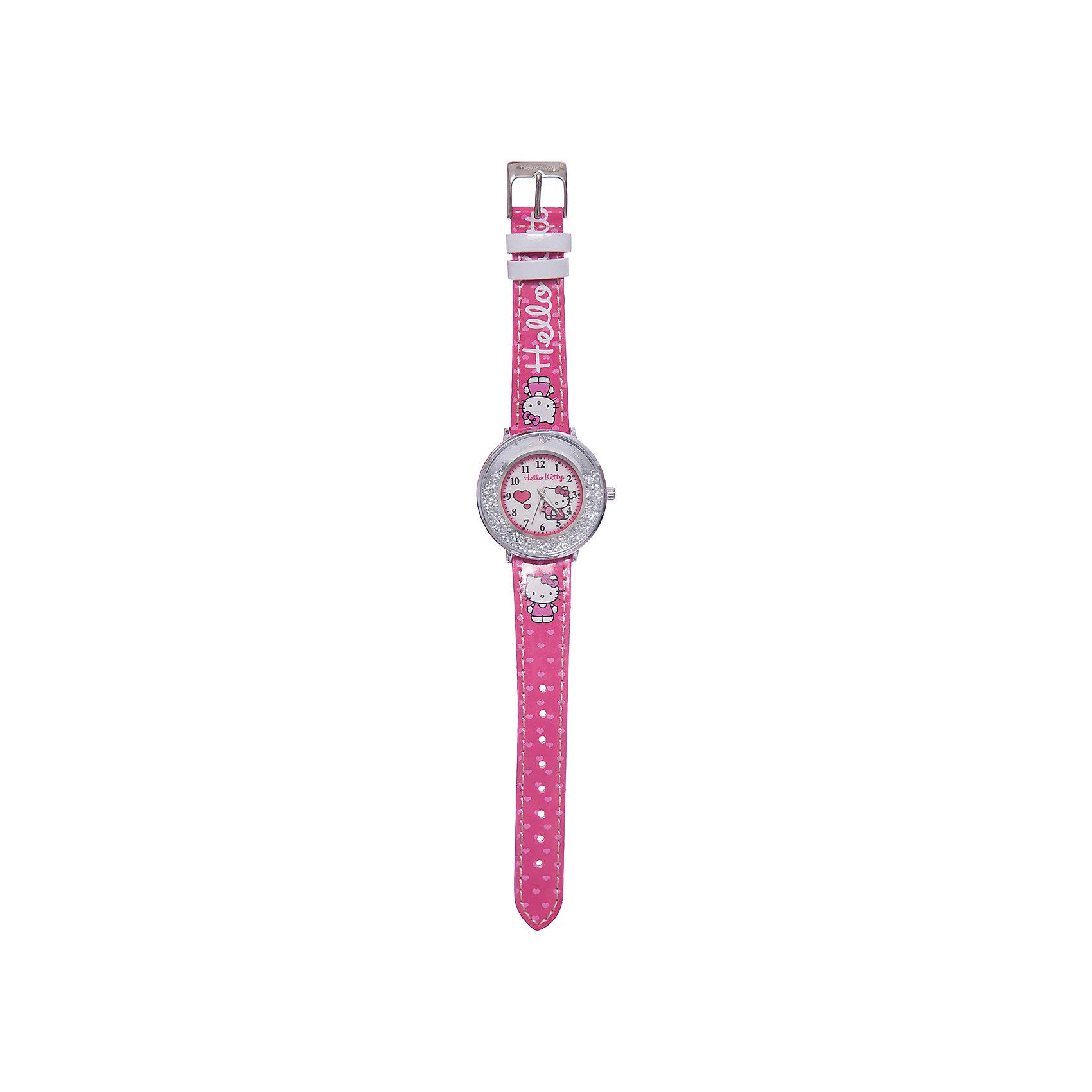 Часы наручные аналоговые, Hello KittyАксессуары<br>Эксклюзивные наручные аналоговые часы торговой марки Hello Kitty выполнены по индивидуальному дизайну ООО «Детское Время» и лицензии компании Sanrio. Обилие деталей - декоративных элементов (страз, мерцающих ремешков), надписей,  уникальных изображений - делают изделие тщательно продуманным творением мастеров. Часы имеют высококачественный японский кварцевый механизм и отличаются надежностью и точностью хода. Часы водоустойчивы и обладают достаточной герметичностью, чтобы спокойно перенести случайный и незначительный контакт с жидкостями (дождь, брызги), но они не предназначены для плавания или погружения в воду. Циферблат защищен от повреждений прочным минеральным стеклом. Корпус часов выполнен из стали,  задняя крышка из нержавеющей стали. Материал браслета: искусственная кожа. Единица товара упаковывается в стильную подарочную коробочку. Неповторимый стиль с изобилием насыщенных и в тоже время нежных гамм; надежность и прочность изделия позволяют говорить о нем только в превосходной степени!Размеры изделия: 1,5х0,1х21 (ДШВ), диаметр циф-та - 3,5 см<br><br>Ширина мм: 55<br>Глубина мм: 10<br>Высота мм: 250<br>Вес г: 32<br>Возраст от месяцев: 36<br>Возраст до месяцев: 72<br>Пол: Женский<br>Возраст: Детский<br>SKU: 5529320