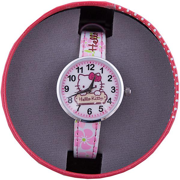 Часы наручные аналоговые, Hello KittyАксессуары<br>Эксклюзивные наручные аналоговые часы торговой марки Hello Kitty выполнены по индивидуальному дизайну ООО «Детское Время» и лицензии компании Sanrio. Обилие деталей - декоративных элементов (страз, мерцающих ремешков), надписей,  уникальных изображений - делают изделие тщательно продуманным творением мастеров. Часы имеют высококачественный японский кварцевый механизм и отличаются надежностью и точностью хода. Часы водоустойчивы и обладают достаточной герметичностью, чтобы спокойно перенести случайный и незначительный контакт с жидкостями (дождь, брызги), но они не предназначены для плавания или погружения в воду. Циферблат защищен от повреждений прочным минеральным стеклом. Корпус часов выполнен из стали,  задняя крышка из нержавеющей стали. Материал браслета: искусственная кожа. Единица товара упаковывается в стильную подарочную коробочку. Неповторимый стиль с изобилием насыщенных и в тоже время нежных гамм; надежность и прочность изделия позволяют говорить о нем только в превосходной степени!<br><br>Ширина мм: 55<br>Глубина мм: 10<br>Высота мм: 240<br>Вес г: 21<br>Возраст от месяцев: 36<br>Возраст до месяцев: 72<br>Пол: Женский<br>Возраст: Детский<br>SKU: 5529327
