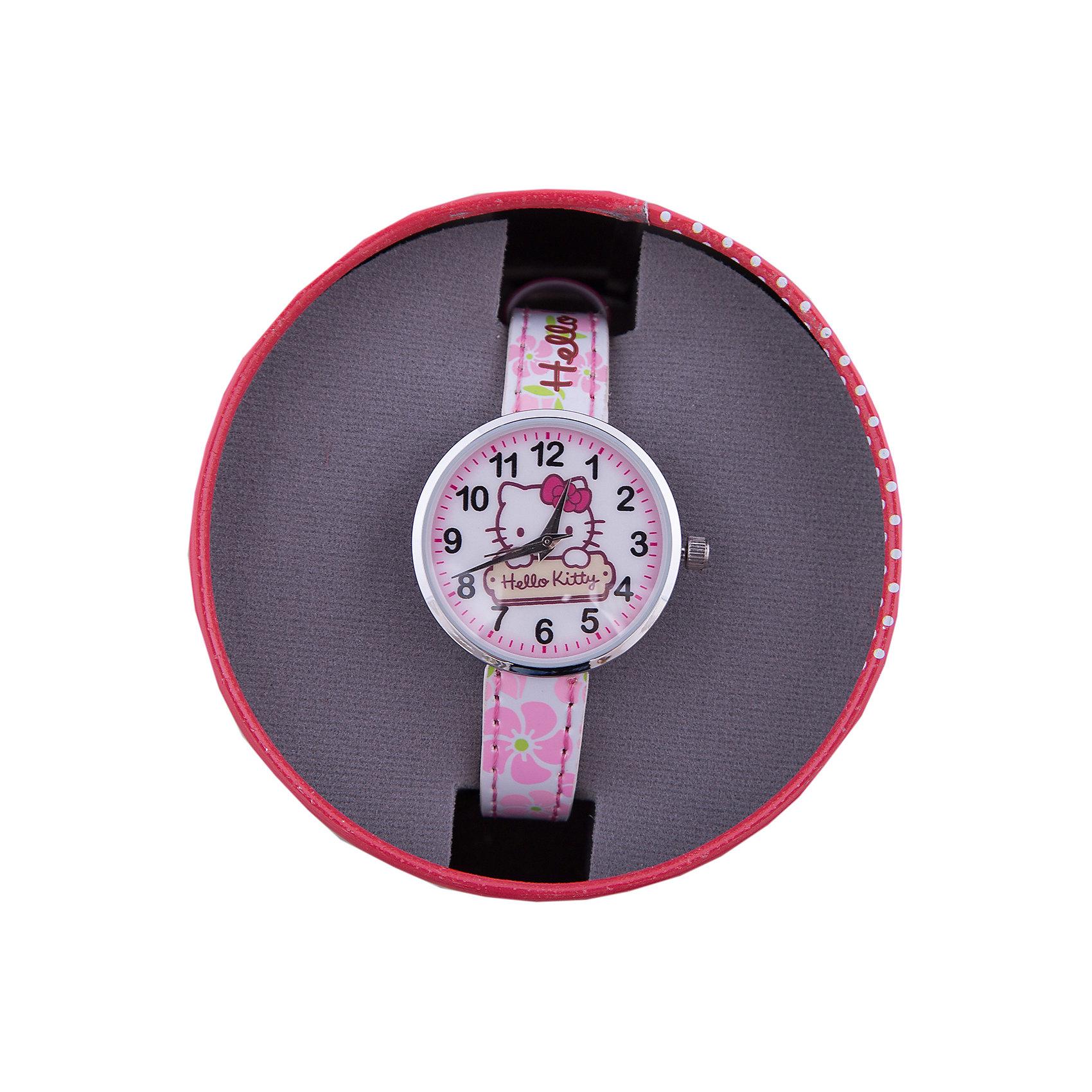 Часы наручные аналоговые, Hello KittyHello Kitty<br>Эксклюзивные наручные аналоговые часы торговой марки Hello Kitty выполнены по индивидуальному дизайну ООО «Детское Время» и лицензии компании Sanrio. Обилие деталей - декоративных элементов (страз, мерцающих ремешков), надписей,  уникальных изображений - делают изделие тщательно продуманным творением мастеров. Часы имеют высококачественный японский кварцевый механизм и отличаются надежностью и точностью хода. Часы водоустойчивы и обладают достаточной герметичностью, чтобы спокойно перенести случайный и незначительный контакт с жидкостями (дождь, брызги), но они не предназначены для плавания или погружения в воду. Циферблат защищен от повреждений прочным минеральным стеклом. Корпус часов выполнен из стали,  задняя крышка из нержавеющей стали. Материал браслета: искусственная кожа. Единица товара упаковывается в стильную подарочную коробочку. Неповторимый стиль с изобилием насыщенных и в тоже время нежных гамм; надежность и прочность изделия позволяют говорить о нем только в превосходной степени!<br><br>Ширина мм: 55<br>Глубина мм: 10<br>Высота мм: 240<br>Вес г: 21<br>Возраст от месяцев: 36<br>Возраст до месяцев: 72<br>Пол: Женский<br>Возраст: Детский<br>SKU: 5529327