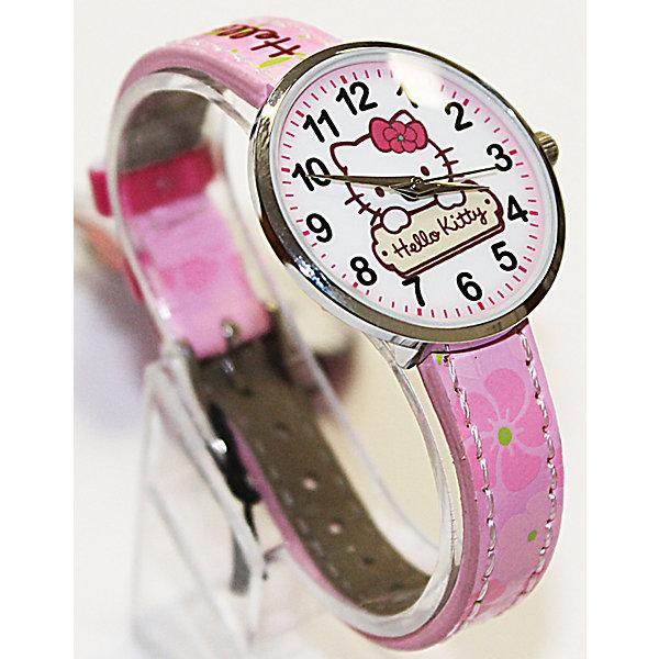 Часы наручные аналоговые, Hello KittyHello Kitty<br>Эксклюзивные наручные аналоговые часы торговой марки Hello Kitty выполнены по индивидуальному дизайну ООО «Детское Время» и лицензии компании Sanrio. Обилие деталей - декоративных элементов (страз, мерцающих ремешков), надписей,  уникальных изображений - делают изделие тщательно продуманным творением мастеров. Часы имеют высококачественный японский кварцевый механизм и отличаются надежностью и точностью хода. Часы водоустойчивы и обладают достаточной герметичностью, чтобы спокойно перенести случайный и незначительный контакт с жидкостями (дождь, брызги), но они не предназначены для плавания или погружения в воду. Циферблат защищен от повреждений прочным минеральным стеклом. Корпус часов выполнен из стали,  задняя крышка из нержавеющей стали. Материал браслета: искусственная кожа. Единица товара упаковывается в стильную подарочную коробочку. Неповторимый стиль с изобилием насыщенных и в тоже время нежных гамм; надежность и прочность изделия позволяют говорить о нем только в превосходной степени!<br><br>Ширина мм: 55<br>Глубина мм: 10<br>Высота мм: 240<br>Вес г: 21<br>Возраст от месяцев: 36<br>Возраст до месяцев: 72<br>Пол: Женский<br>Возраст: Детский<br>SKU: 5529328