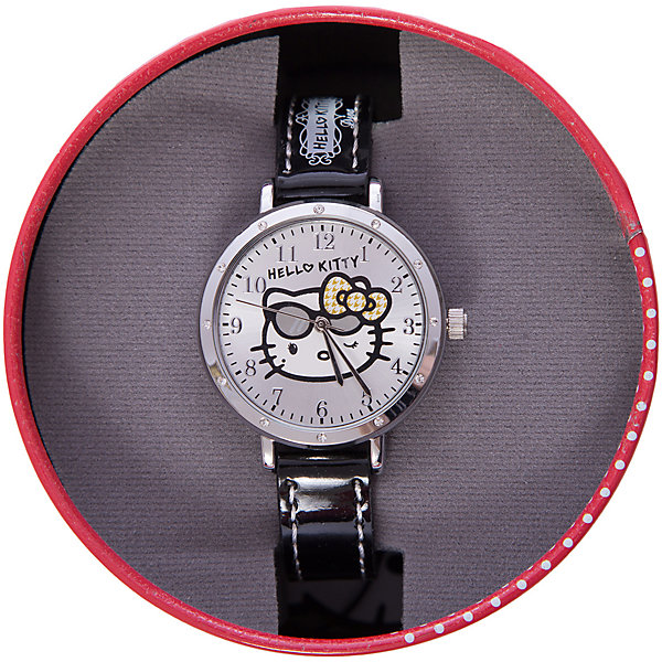 Часы наручные аналоговые, Hello KittyHello Kitty<br>Эксклюзивные наручные аналоговые часы торговой марки Hello Kitty выполнены по индивидуальному дизайну ООО «Детское Время» и лицензии компании Sanrio. Обилие деталей - декоративных элементов (страз, мерцающих ремешков), надписей,  уникальных изображений - делают изделие тщательно продуманным творением мастеров. Часы имеют высококачественный японский кварцевый механизм и отличаются надежностью и точностью хода. Часы водоустойчивы и обладают достаточной герметичностью, чтобы спокойно перенести случайный и незначительный контакт с жидкостями (дождь, брызги), но они не предназначены для плавания или погружения в воду. Циферблат защищен от повреждений прочным минеральным стеклом. Корпус часов выполнен из стали,  задняя крышка из нержавеющей стали. Материал браслета: искусственная кожа. Единица товара упаковывается в стильную подарочную коробочку. Неповторимый стиль с изобилием насыщенных и в тоже время нежных гамм; надежность и прочность изделия позволяют говорить о нем только в превосходной степени!<br><br>Ширина мм: 55<br>Глубина мм: 10<br>Высота мм: 250<br>Вес г: 27<br>Возраст от месяцев: 36<br>Возраст до месяцев: 72<br>Пол: Женский<br>Возраст: Детский<br>SKU: 5529331