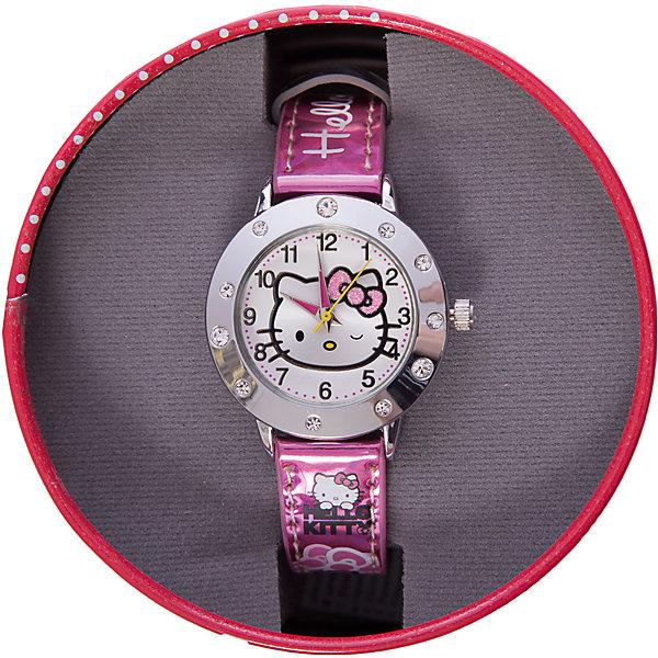 Часы наручные аналоговые, Hello KittyАксессуары<br>Эксклюзивные наручные аналоговые часы торговой марки Hello Kitty выполнены по индивидуальному дизайну ООО «Детское Время» и лицензии компании Sanrio. Обилие деталей - декоративных элементов (страз, мерцающих ремешков), надписей,  уникальных изображений - делают изделие тщательно продуманным творением мастеров. Часы имеют высококачественный японский кварцевый механизм и отличаются надежностью и точностью хода. Часы водоустойчивы и обладают достаточной герметичностью, чтобы спокойно перенести случайный и незначительный контакт с жидкостями (дождь, брызги), но они не предназначены для плавания или погружения в воду. Циферблат защищен от повреждений прочным минеральным стеклом. Корпус часов выполнен из стали,  задняя крышка из нержавеющей стали. Материал браслета: искусственная кожа. Единица товара упаковывается в стильную подарочную коробочку. Неповторимый стиль с изобилием насыщенных и в тоже время нежных гамм; надежность и прочность изделия позволяют говорить о нем только в превосходной степени!<br>Ширина мм: 55; Глубина мм: 10; Высота мм: 250; Вес г: 29; Возраст от месяцев: 36; Возраст до месяцев: 72; Пол: Женский; Возраст: Детский; SKU: 5529336;