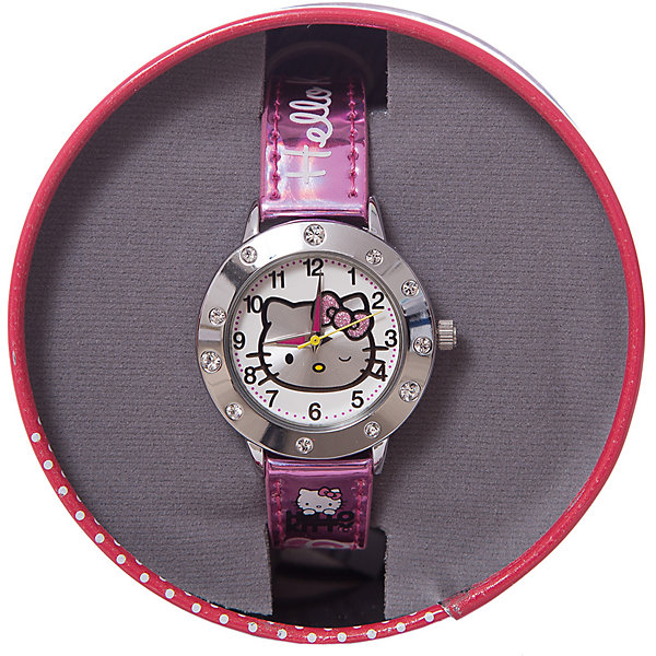 Часы наручные аналоговые, Hello KittyАксессуары<br>Эксклюзивные наручные аналоговые часы торговой марки Hello Kitty выполнены по индивидуальному дизайну ООО «Детское Время» и лицензии компании Sanrio. Обилие деталей - декоративных элементов (страз, мерцающих ремешков), надписей,  уникальных изображений - делают изделие тщательно продуманным творением мастеров. Часы имеют высококачественный японский кварцевый механизм и отличаются надежностью и точностью хода. Часы водоустойчивы и обладают достаточной герметичностью, чтобы спокойно перенести случайный и незначительный контакт с жидкостями (дождь, брызги), но они не предназначены для плавания или погружения в воду. Циферблат защищен от повреждений прочным минеральным стеклом. Корпус часов выполнен из стали,  задняя крышка из нержавеющей стали. Материал браслета: искусственная кожа. Единица товара упаковывается в стильную подарочную коробочку. Неповторимый стиль с изобилием насыщенных и в тоже время нежных гамм; надежность и прочность изделия позволяют говорить о нем только в превосходной степени!<br>Ширина мм: 55; Глубина мм: 10; Высота мм: 250; Вес г: 29; Возраст от месяцев: 36; Возраст до месяцев: 72; Пол: Женский; Возраст: Детский; SKU: 5529337;