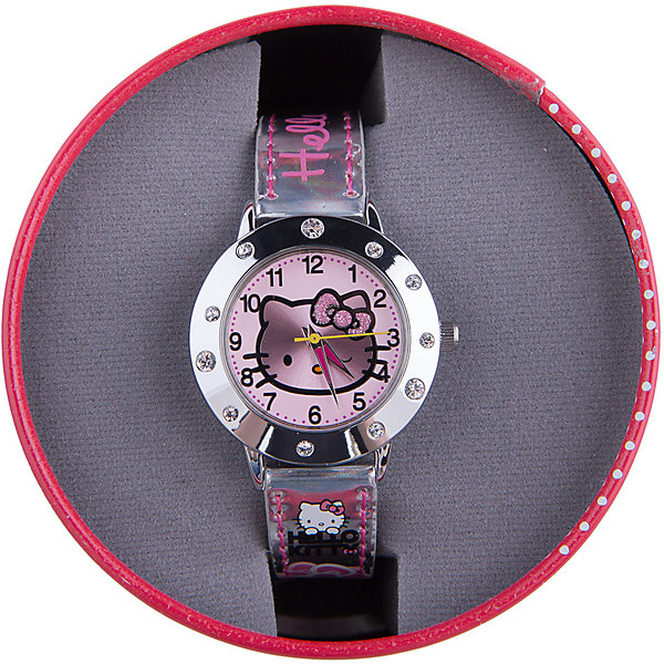 Часы наручные аналоговые, Hello KittyДетские гаджеты<br>Эксклюзивные наручные аналоговые часы торговой марки Hello Kitty выполнены по индивидуальному дизайну ООО «Детское Время» и лицензии компании Sanrio. Обилие деталей - декоративных элементов (страз, мерцающих ремешков), надписей,  уникальных изображений - делают изделие тщательно продуманным творением мастеров. Часы имеют высококачественный японский кварцевый механизм и отличаются надежностью и точностью хода. Часы водоустойчивы и обладают достаточной герметичностью, чтобы спокойно перенести случайный и незначительный контакт с жидкостями (дождь, брызги), но они не предназначены для плавания или погружения в воду. Циферблат защищен от повреждений прочным минеральным стеклом. Корпус часов выполнен из стали,  задняя крышка из нержавеющей стали. Материал браслета: искусственная кожа. Единица товара упаковывается в стильную подарочную коробочку. Неповторимый стиль с изобилием насыщенных и в тоже время нежных гамм; надежность и прочность изделия позволяют говорить о нем только в превосходной степени!<br><br>Ширина мм: 55<br>Глубина мм: 10<br>Высота мм: 250<br>Вес г: 29<br>Возраст от месяцев: 36<br>Возраст до месяцев: 72<br>Пол: Женский<br>Возраст: Детский<br>SKU: 5529338