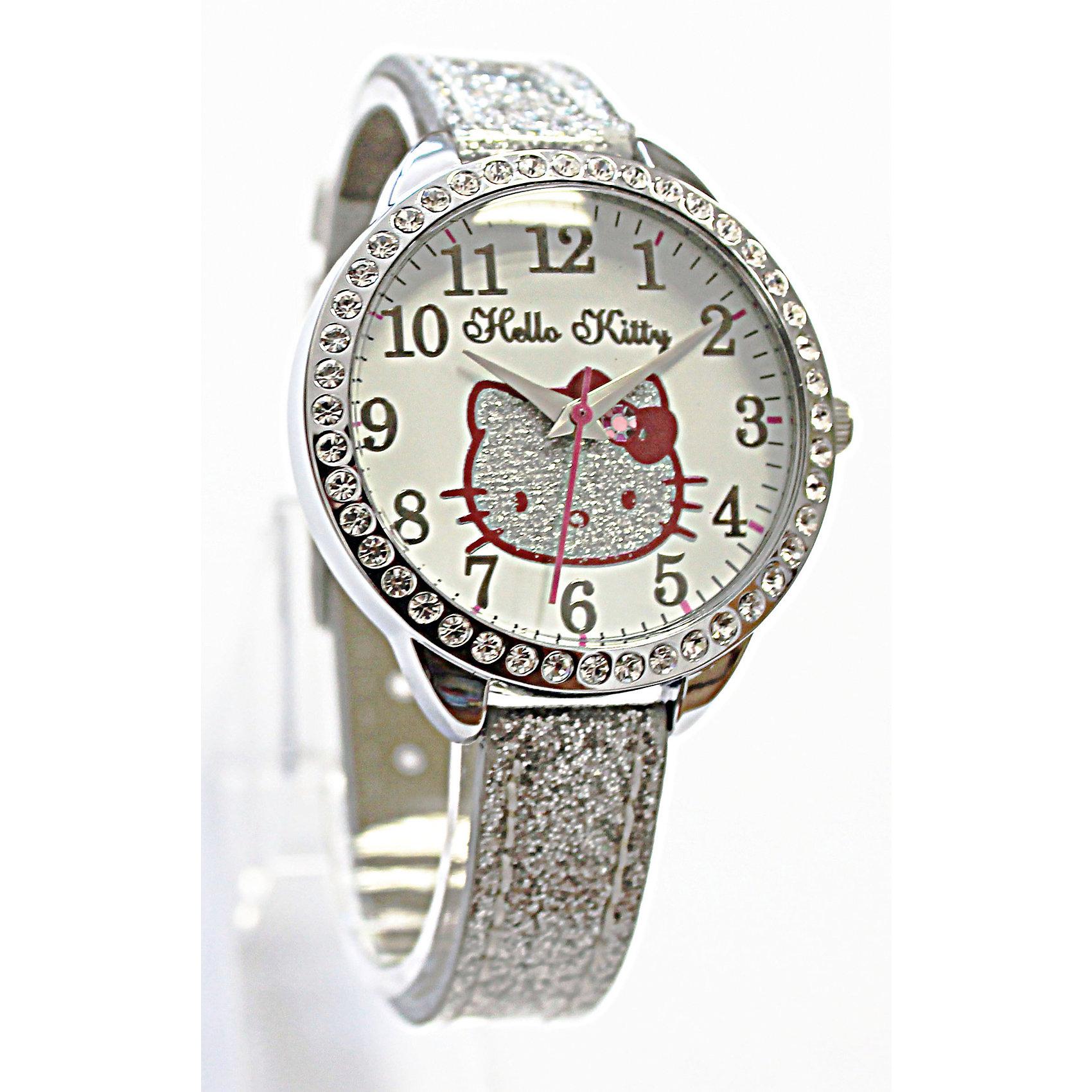 Часы наручные аналоговые, Hello KittyАксессуары<br>Эксклюзивные наручные аналоговые часы торговой марки Hello Kitty выполнены по индивидуальному дизайну ООО «Детское Время» и лицензии компании Sanrio. Обилие деталей - декоративных элементов (страз, мерцающих ремешков), надписей,  уникальных изображений - делают изделие тщательно продуманным творением мастеров. Часы имеют высококачественный японский кварцевый механизм и отличаются надежностью и точностью хода. Часы водоустойчивы и обладают достаточной герметичностью, чтобы спокойно перенести случайный и незначительный контакт с жидкостями (дождь, брызги), но они не предназначены для плавания или погружения в воду. Циферблат защищен от повреждений прочным минеральным стеклом. Корпус часов выполнен из стали,  задняя крышка из нержавеющей стали. Материал браслета: искусственная кожа. Единица товара упаковывается в стильную подарочную коробочку. Неповторимый стиль с изобилием насыщенных и в тоже время нежных гамм; надежность и прочность изделия позволяют говорить о нем только в превосходной степени!<br><br>Ширина мм: 55<br>Глубина мм: 10<br>Высота мм: 250<br>Вес г: 22<br>Возраст от месяцев: 36<br>Возраст до месяцев: 72<br>Пол: Женский<br>Возраст: Детский<br>SKU: 5529339