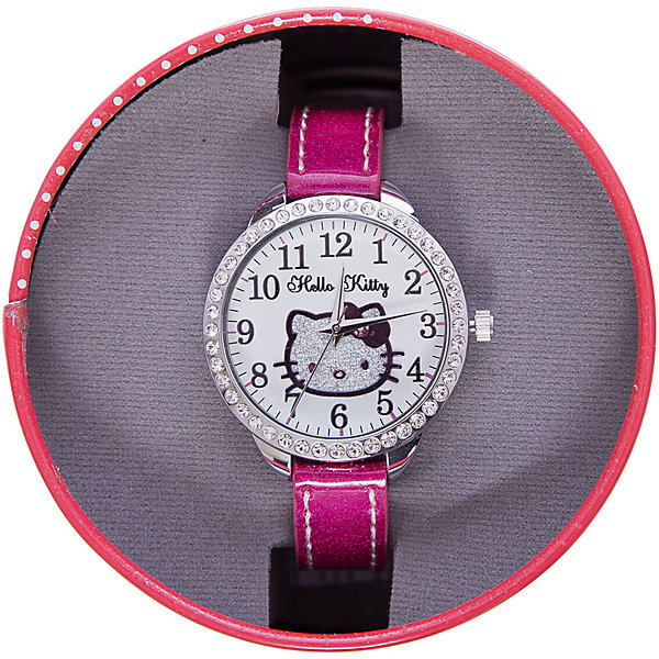 Часы наручные аналоговые, Hello KittyАксессуары<br>Эксклюзивные наручные аналоговые часы торговой марки Hello Kitty выполнены по индивидуальному дизайну ООО «Детское Время» и лицензии компании Sanrio. Обилие деталей - декоративных элементов (страз, мерцающих ремешков), надписей,  уникальных изображений - делают изделие тщательно продуманным творением мастеров. Часы имеют высококачественный японский кварцевый механизм и отличаются надежностью и точностью хода. Часы водоустойчивы и обладают достаточной герметичностью, чтобы спокойно перенести случайный и незначительный контакт с жидкостями (дождь, брызги), но они не предназначены для плавания или погружения в воду. Циферблат защищен от повреждений прочным минеральным стеклом. Корпус часов выполнен из стали,  задняя крышка из нержавеющей стали. Материал браслета: искусственная кожа. Единица товара упаковывается в стильную подарочную коробочку. Неповторимый стиль с изобилием насыщенных и в тоже время нежных гамм; надежность и прочность изделия позволяют говорить о нем только в превосходной степени!<br><br>Ширина мм: 55<br>Глубина мм: 10<br>Высота мм: 250<br>Вес г: 22<br>Возраст от месяцев: 36<br>Возраст до месяцев: 72<br>Пол: Женский<br>Возраст: Детский<br>SKU: 5529340