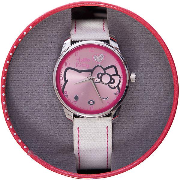 Часы наручные аналоговые, Hello KittyHello Kitty<br>Эксклюзивные наручные аналоговые часы торговой марки Hello Kitty выполнены по индивидуальному дизайну ООО «Детское Время» и лицензии компании Sanrio. Обилие деталей - декоративных элементов (страз, мерцающих ремешков), надписей,  уникальных изображений - делают изделие тщательно продуманным творением мастеров. Часы имеют высококачественный японский кварцевый механизм и отличаются надежностью и точностью хода. Часы водоустойчивы и обладают достаточной герметичностью, чтобы спокойно перенести случайный и незначительный контакт с жидкостями (дождь, брызги), но они не предназначены для плавания или погружения в воду. Циферблат защищен от повреждений прочным минеральным стеклом. Корпус часов выполнен из стали,  задняя крышка из нержавеющей стали. Материал браслета: искусственная кожа. Единица товара упаковывается в стильную подарочную коробочку. Неповторимый стиль с изобилием насыщенных и в тоже время нежных гамм; надежность и прочность изделия позволяют говорить о нем только в превосходной степени!<br><br>Ширина мм: 55<br>Глубина мм: 10<br>Высота мм: 250<br>Вес г: 38<br>Возраст от месяцев: 36<br>Возраст до месяцев: 72<br>Пол: Женский<br>Возраст: Детский<br>SKU: 5529344