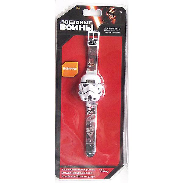 Часы наручные электронные Штормтрупер, Star WarsАксессуары<br>Электронные детские часы с корпусом и браслетом из пластика. Циферблат защищен от повреждений прочным пластиковым стеклом. Товар изготовлен полностью из пластмассы с питанием от химических источников тока, 1 сменный элемент включен в комплект (LR41 (AG3) 1.5 V). Рекомендуемый возраст: от 3 лет.<br><br>Ширина мм: 135<br>Глубина мм: 50<br>Высота мм: 315<br>Вес г: 57<br>Возраст от месяцев: 36<br>Возраст до месяцев: 72<br>Пол: Мужской<br>Возраст: Детский<br>SKU: 5529350