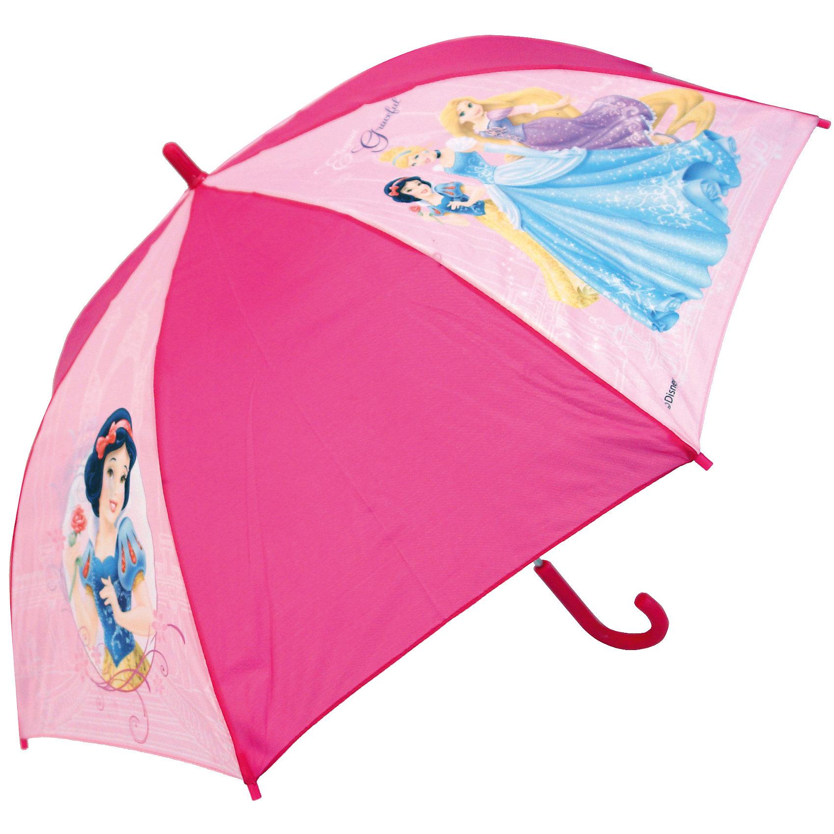 Зонт-трость 46 см, автоматический, розовый, Disney PrincessЗонты детские<br>Компактный детский зонтик-трость станет замечательным подарком для Вашего чада и защитит его не только от дождя, но и от солнца. Красочный дизайн зонтика поднимет настроение и станет незаменимым атрибутом прогулки. Ребенок сможет сам открывать и закрывать зонтик, благодаря легкому механизму, а оригинальная расцветка зонтика привлечет к себе внимание. Тип механизма: автоматический (открывается автом/закрывается вручную). Конструкция зонта: зонт-трость. Материал: пластик, полиэстер, металл.<br>Диаметр купола: 82 см<br><br>Ширина мм: 85<br>Глубина мм: 50<br>Высота мм: 650<br>Вес г: 240<br>Возраст от месяцев: 36<br>Возраст до месяцев: 36<br>Пол: Женский<br>Возраст: Детский<br>SKU: 5529353
