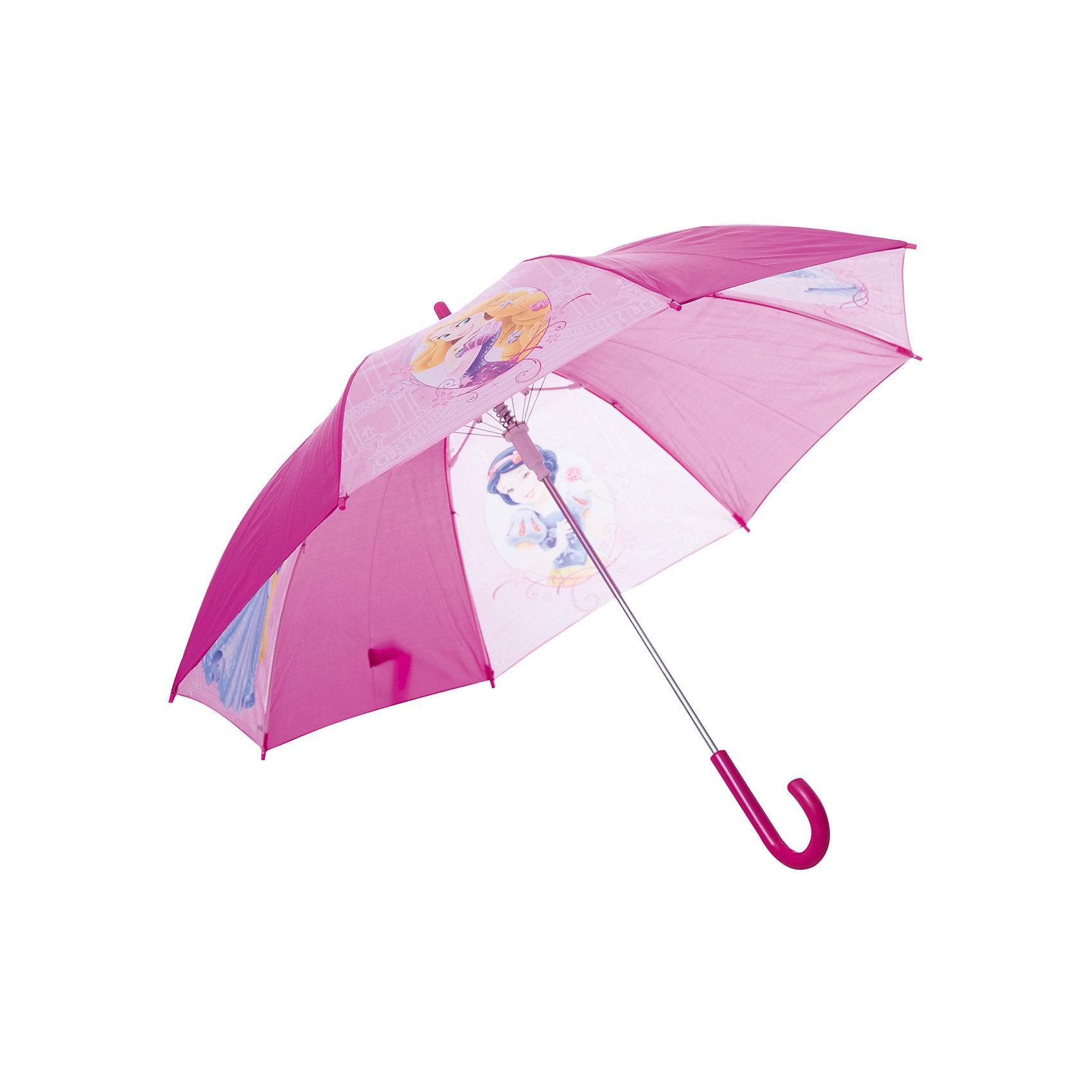 Зонт-трость 46 см, автоматический, фиолетовый, Disney PrincessКомпактный детский зонтик-трость станет замечательным подарком для Вашего чада и защитит его не только от дождя, но и от солнца. Красочный дизайн зонтика поднимет настроение и станет незаменимым атрибутом прогулки. Ребенок сможет сам открывать и закрывать зонтик, благодаря легкому механизму, а оригинальная расцветка зонтика привлечет к себе внимание. Тип механизма: автоматический (открывается автом/закрывается вручную). Конструкция зонта: зонт-трость. Материал: пластик, полиэстер, металл.<br>Диаметр купола: 82 см<br><br>Ширина мм: 85<br>Глубина мм: 50<br>Высота мм: 650<br>Вес г: 240<br>Возраст от месяцев: 36<br>Возраст до месяцев: 36<br>Пол: Женский<br>Возраст: Детский<br>SKU: 5529354