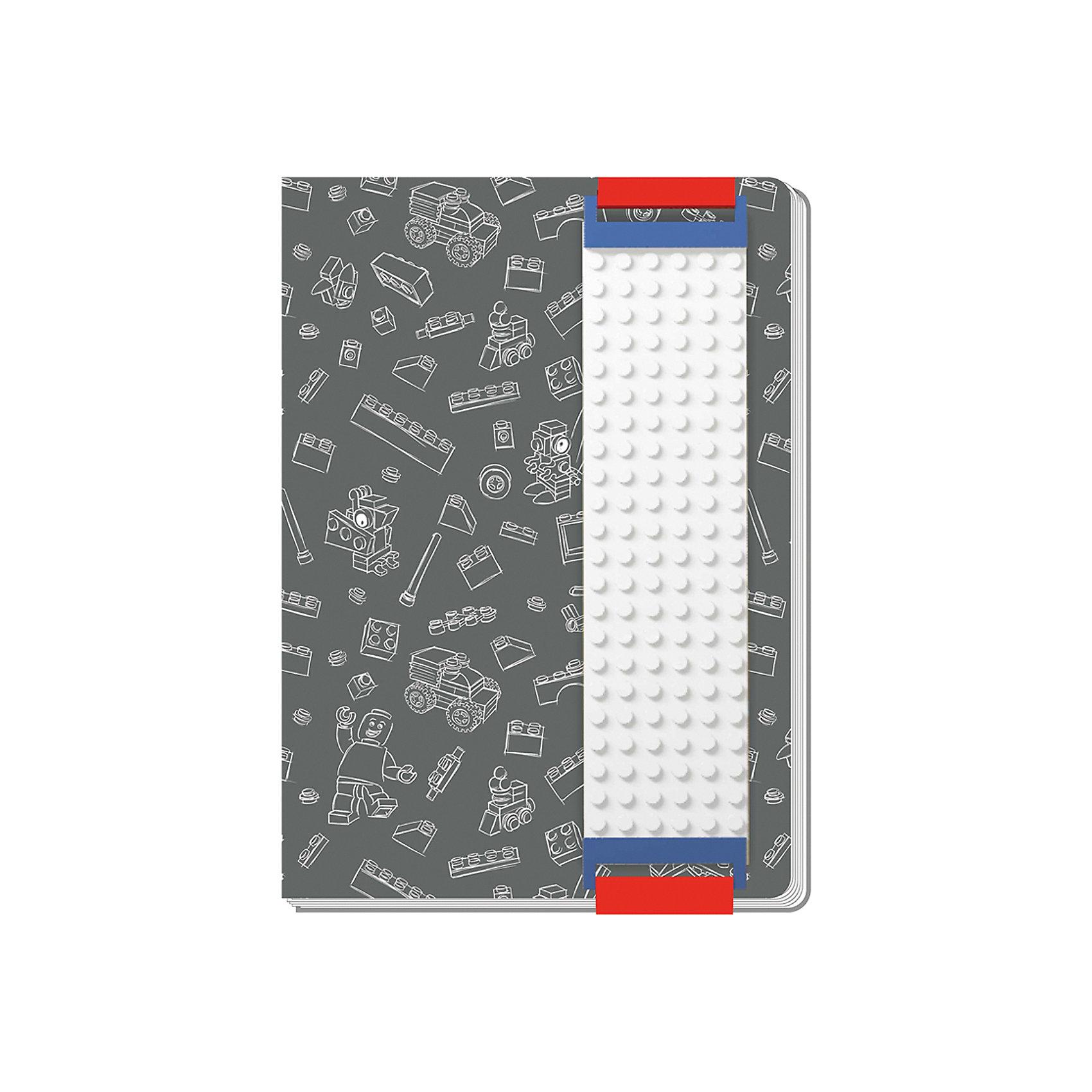 Записная книжка, 96 листов, линейка, с закладкой, цвет: серый, LEGOБумажная продукция<br>Оригинальную книгу для записей можно использовать в качестве ежедневника, блокнота для рисования, написания сочинений или важных событий. Закладка поможет не только найти необходимую запись, а также хранить ручку, маркер или карандаш вместе, ведь все канцелярские принадлежности скрепляются друг  с другом по принципу конструкторов LEGO.<br><br>Ширина мм: 150<br>Глубина мм: 32<br>Высота мм: 222<br>Вес г: 390<br>Возраст от месяцев: 36<br>Возраст до месяцев: 72<br>Пол: Унисекс<br>Возраст: Детский<br>SKU: 5529376
