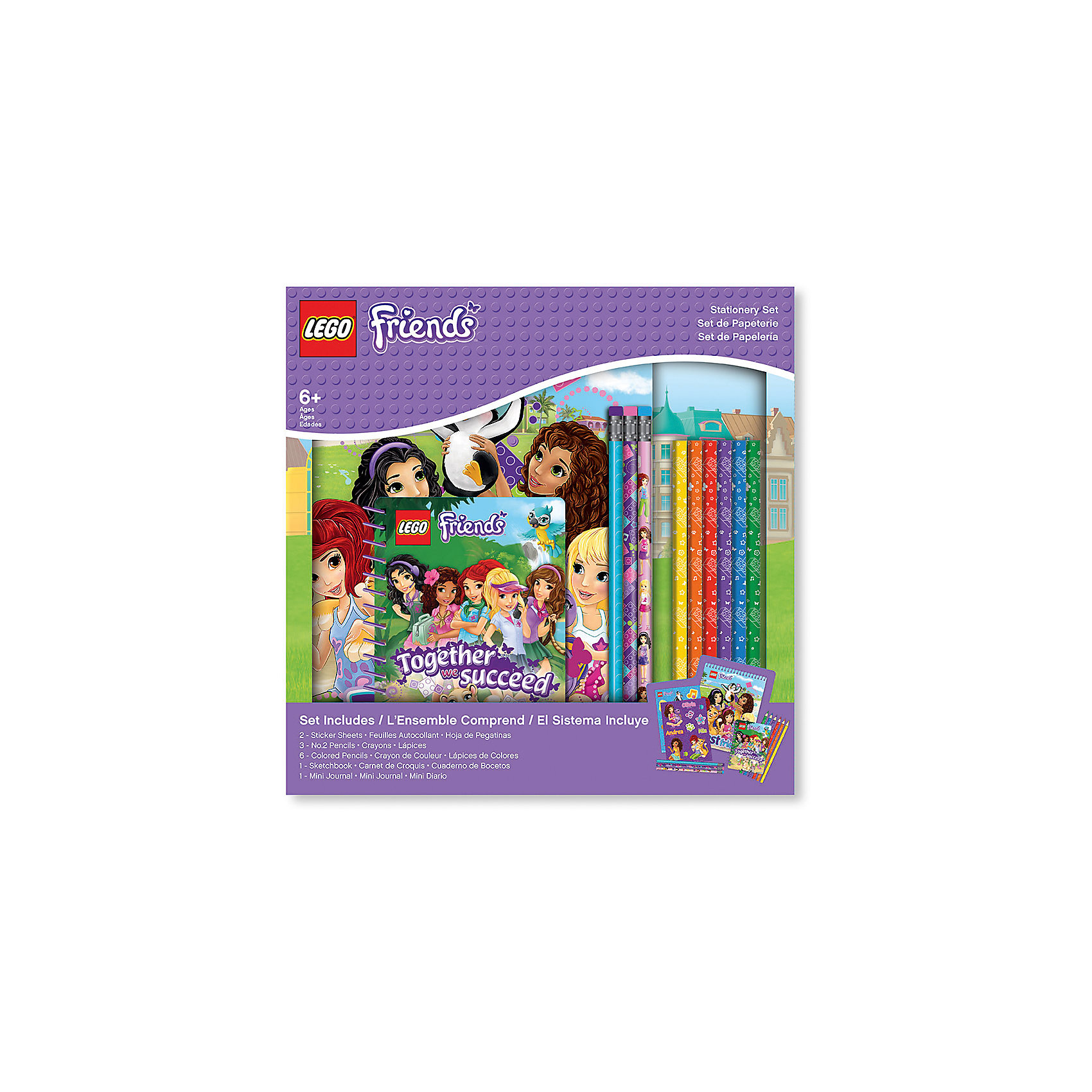 Набор канцелярских принадлежностей, 13 шт. в комплекте, LEGOШкольные аксессуары<br>Альбом для рисования на спирали (1 шт.) 60 листов, 17,8х0,5х22,8 см<br>Наклейки (2 листа) 12,7х17,7 см<br>Карандаши (3 шт.)<br>Цветные карандаши (6 шт.)<br>Блокнот на спирали (1 шт.) 100 листов,10х1х13,9 см<br><br>Ширина мм: 277<br>Глубина мм: 40<br>Высота мм: 277<br>Вес г: 600<br>Возраст от месяцев: 36<br>Возраст до месяцев: 72<br>Пол: Женский<br>Возраст: Детский<br>SKU: 5529381