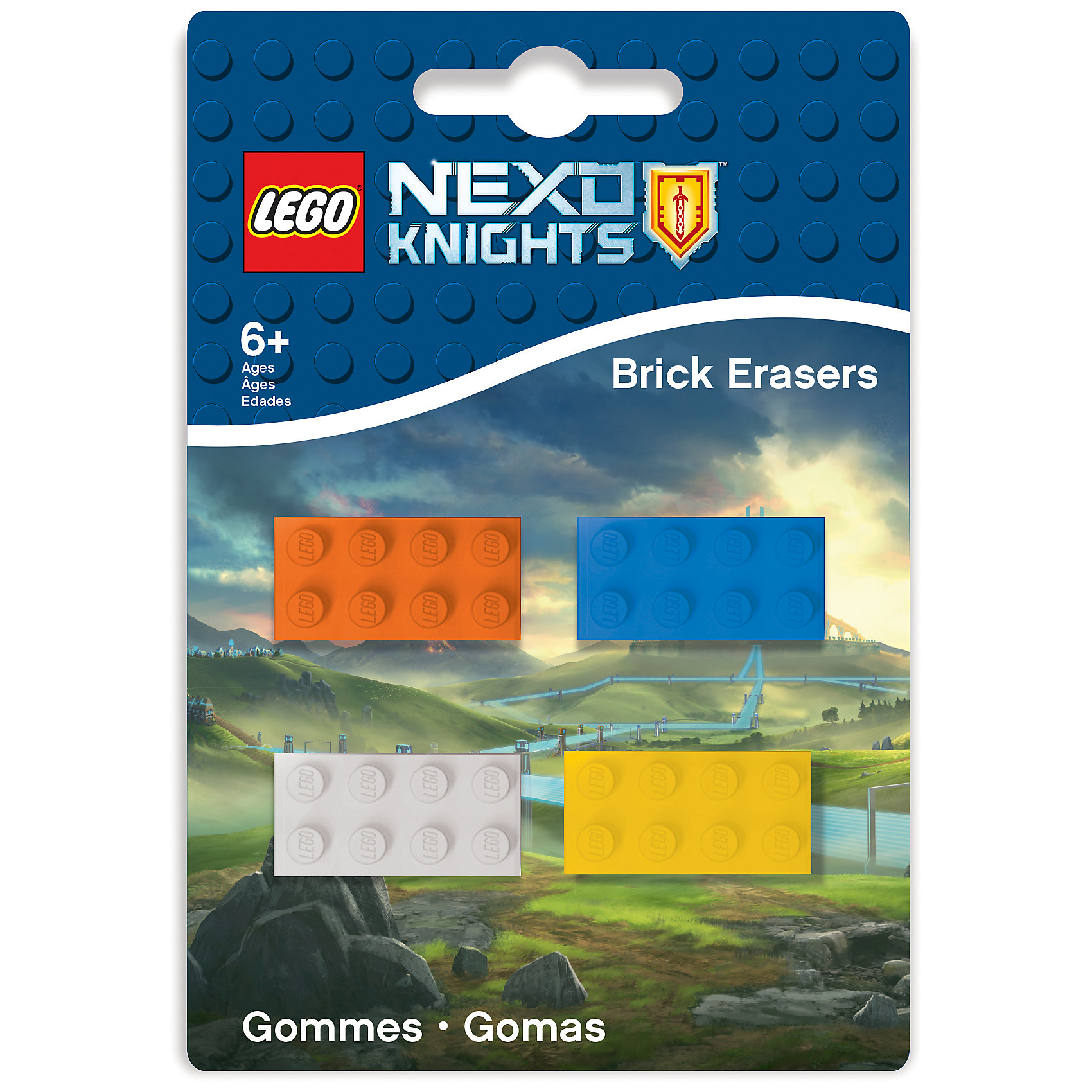 Набор ластиков, 4 шт., LEGOНабор состоит из 4 ластиков, выполненных в форме классического кирпичика LEGO.<br><br>Ширина мм: 95<br>Глубина мм: 10<br>Высота мм: 140<br>Вес г: 42<br>Возраст от месяцев: 36<br>Возраст до месяцев: 72<br>Пол: Мужской<br>Возраст: Детский<br>SKU: 5529385