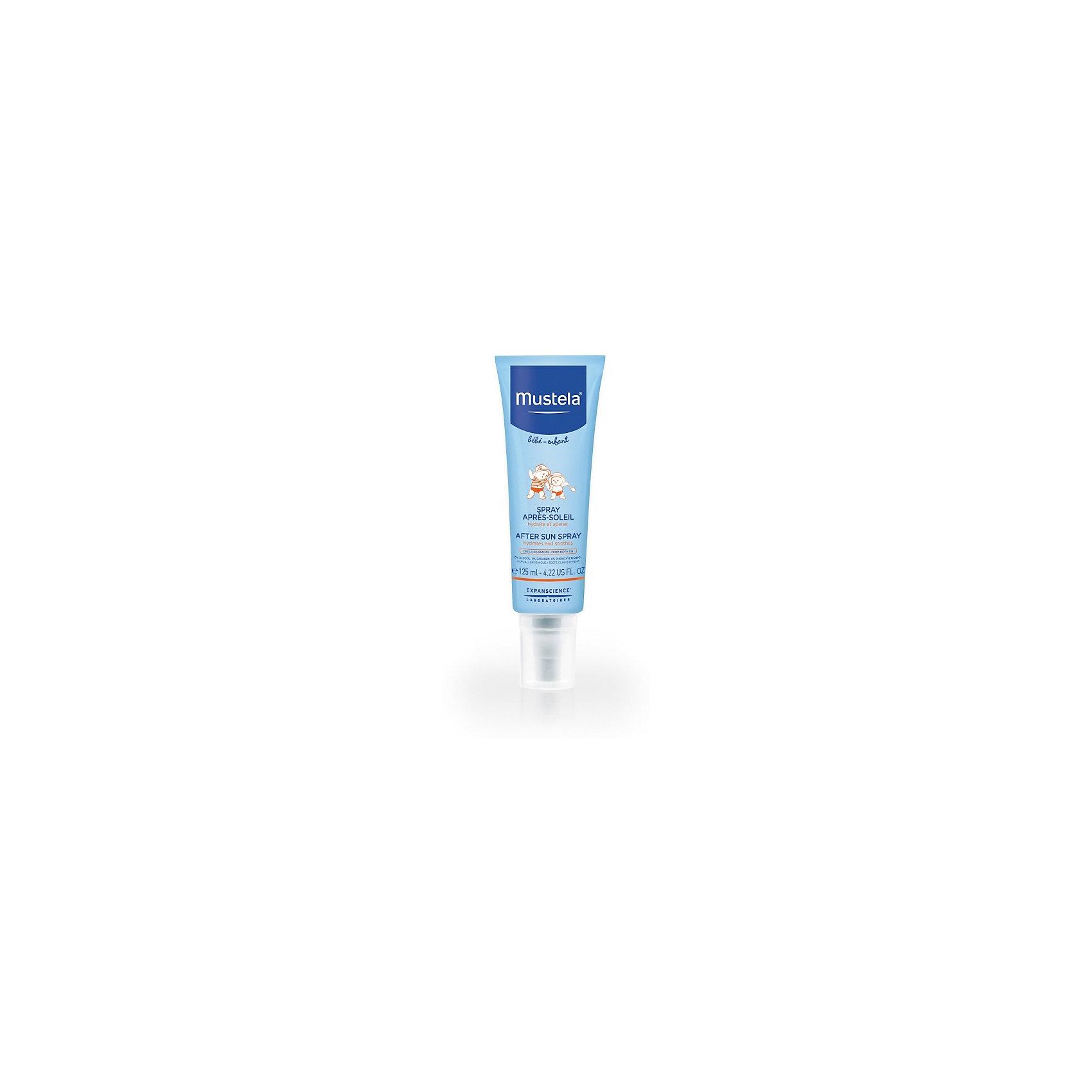 Спрей после загара, 125 мл., MUSTELA SUNСредства защиты от солнца и насекомых<br>Разработано для минимизации риска аллергических реакций.<br>Свойства Мгновенно увлажняет, успокаивает и освежает кожу. • Благодаря входящему в состав активному природному ингредиенту Avocado Perseose® укрепляет кожный барьер малыша и сохраняет клеточные ресурсы его кожи. • Хорошая переносимость с рождения. • Протестировано под<br>дерматологическим и педиатрическим контролем.<br>0% отдушек, этилового спирта, парабенов.<br>Способ применения Наносите на тело малыша после пребывания на солнце.<br>Состав AQUA (WATER), TRILAURETH-4 PHOSPHATE,<br>BUTYLENE GLYCOL, DICAPRYLYL CARBONATE, PARAFFINUM<br>L I Q U I D U M / M I N E R A L O I L / H U I L E M I N ? R A L E ,<br>PENTAERYTHRITYL TETRAETHYLHEXANOATE, 1,2-<br>HEXANEDIOL, SIMMONDSIA CHINENSIS (JOJOBA) SEED OIL,<br>THEOBROMA GRANDIFLORUM SEED BUTTER, PARFUM<br>(FRAGRANCE), GLYCERYL CAPRYLATE, CARBOMER,<br>TETRASODIUM GLUTAMATE DIACETATE, XANTHAN GUM,<br>SODIUM HYDROXIDE, CITRIC ACID, PERSEA GRATISSIMA<br>(AVOCADO) FRUIT EXTRACT.<br><br>Ширина мм: 60<br>Глубина мм: 60<br>Высота мм: 185<br>Вес г: 145<br>Возраст от месяцев: 0<br>Возраст до месяцев: 1188<br>Пол: Унисекс<br>Возраст: Детский<br>SKU: 5529658