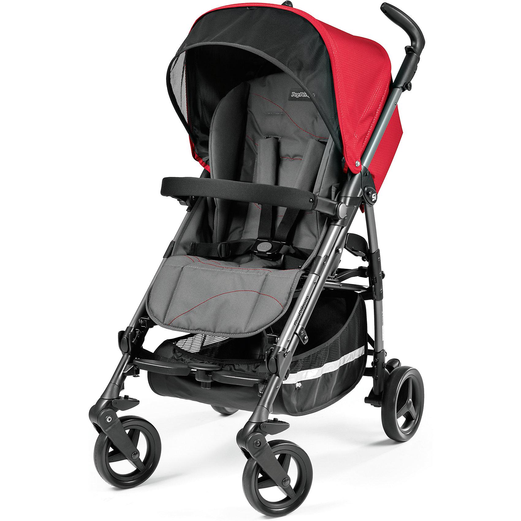 Коляска-трость Peg-Perego Si Completo, Bloom RedПрогулочные коляски<br>Коляска-трость Si Completo, Peg-Perego - легкая современная прогулочная коляска, которая отвечает всем требованиям комфорта и безопасности малыша. Современный дизайн, легкость управления и маневренность делают ее идеальной для использования в любой ситуации.<br>Коляска оснащена удобным для ребенка эргономичным сиденьем с мягкими 5-точечными ремнями безопасности и мягким съемным бампером. Спинка раскладывается в 3 различных положениях для комфортного отдыха. Регулируемая подножка обеспечивает малышу правильную<br>осанку. Чехол для ножек создаст дополнительное тепло, а складной капюшон с солнцезащитным козырьком и креплением для игрушки защитит от солнца и дождя. Для родителей предусмотрены удобные, регулируемые по высоте ручки и вместительная корзина для принадлежностей<br>малыша. <br><br>Коляска оснащена 4 колесами: передние колеса - плавающие с амортизаторами и возможностью фиксации, задние колеса - с центральным тормозом. Коляска легко и компактно складывается тростью с помощью центральной ручки и не занимает много места при хранении. Имеется ручка для транспортировки в сложенном состоянии. Тканевые детали легко чистятся и не выгорают на солнце. В комплекте входят два ремешка, которые позволяют устанавливать на шасси коляски автокресло Primo Viaggio Tri-Fix (продается отдельно). Подходит для детей от 6 месяцев до 3 лет.<br><br><br>Особенности:<br><br>- удобна для транспортировки и хранения;<br>- эргономичное прогулочное сиденье;<br>- большой капюшон с солнцезащитным козырьком;<br>- регулируемый в 3 положениях наклон спинки;<br>- корзина для вещей ребенка;<br>- чехол на ноги;<br>- передние плавающие колеса с возможностью фиксации;<br>- легко и компактно складывается.<br><br><br>Дополнительная информация:<br><br>- В комплекте: чехол для ножек, дождевик, съемный бампер, корзина для покупок, адаптеры для крепления автокресла.<br>- Цвет: Bloom Red (красный).<br>- Материал: алюминий, текстиль.<br>- Д