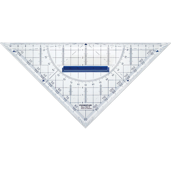 Геометрический треугольник Mars со съемной ручкой, 22 см, StaedtlerПисьменные принадлежности<br>Геометрический треугольник Mars со съемной ручкой, 22 см, Staedtler (Штедлер).<br><br>Характеристики:<br><br>• Для детей в возрасте: от 7 лет<br>• Материал: пластик<br>• Длина шкалы: 22 см.<br>• Градусы: 45°/45°<br><br>Прозрачный геометрический треугольник Mars от Staedtler (Штедлер) - это высококачественный инструмент для школьных занятий, измерений и выполнения чертежей. Съемная ручка и четкая нестираемая разметка делает работу с инструментом особенно удобной. Треугольник обладает особой прочностью, защищающей его от поломки в сумке или при падении.<br><br>Геометрический треугольник Mars со съемной ручкой, 22 см, Staedtler (Штедлер) можно купить в нашем интернет-магазине.<br><br>Ширина мм: 170<br>Глубина мм: 185<br>Высота мм: 5<br>Вес г: 41<br>Возраст от месяцев: 60<br>Возраст до месяцев: 144<br>Пол: Унисекс<br>Возраст: Детский<br>SKU: 5529972