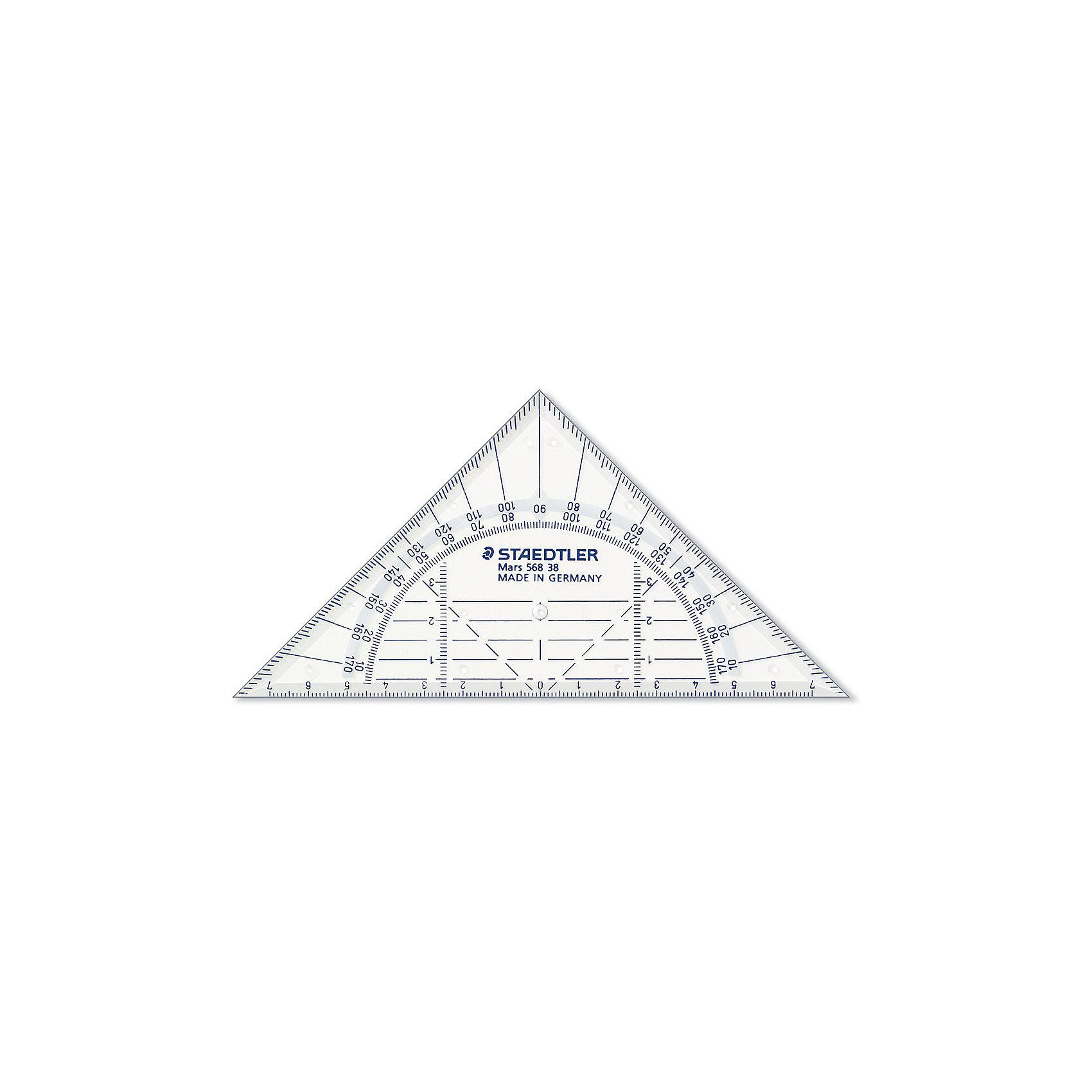 Геометрический треугольник Mars  16 см, StaedtlerЧертежные принадлежности<br>Геометрический треугольник Mars  16 см, Staedtler (Штедлер).<br><br>Характеристики:<br><br>• Для детей в возрасте: от 7 лет<br>• Материал: пластик<br>• Длина шкалы: 16 см.<br>• Градусы: 45°/45°<br><br>Прозрачный геометрический треугольник Mars от Staedtler (Штедлер) - это высококачественный инструмент для школьных занятий, измерений и выполнения чертежей. Четкая нестираемая разметка делает работу с инструментом особенно удобной. Треугольник обладает особой прочностью, защищающей его от поломки в сумке или при падении.<br><br>Геометрический треугольник Mars  16 см, Staedtler (Штедлер) можно купить в нашем интернет-магазине.<br><br>Ширина мм: 195<br>Глубина мм: 120<br>Высота мм: 30<br>Вес г: 13<br>Возраст от месяцев: 84<br>Возраст до месяцев: 2147483647<br>Пол: Унисекс<br>Возраст: Детский<br>SKU: 5529973