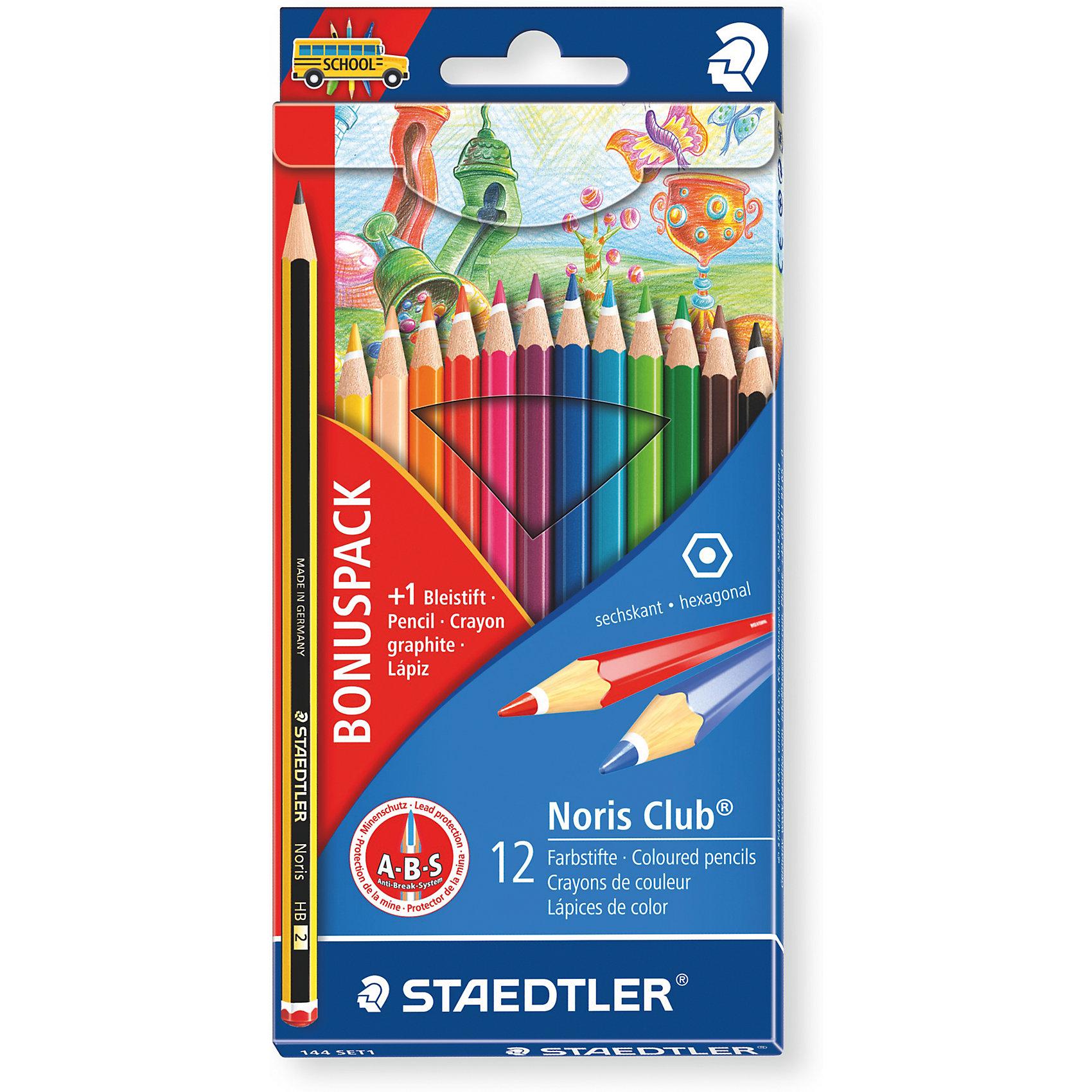 Карандаш цветной Noris Club набор 12 цветовПисьменные принадлежности<br>Набор цветных карандашей Noris Club® 144, 12 цветов в  картонной упаковке + 1 чернографитовый карандаш 120-2 - бесплатно. Карандаши уложены в 1ряд. Классическая шестигранная форма. A-B-S - белое защитное покрытие для укрепления грифеля и для защиты от поломки. Очень мягкий и яркий грифель. При производстве используется древесина сертифицированных и специально подготовленных лесов.<br><br>Ширина мм: 190<br>Глубина мм: 95<br>Высота мм: 100<br>Вес г: 750<br>Возраст от месяцев: 36<br>Возраст до месяцев: 2147483647<br>Пол: Унисекс<br>Возраст: Детский<br>SKU: 5529976