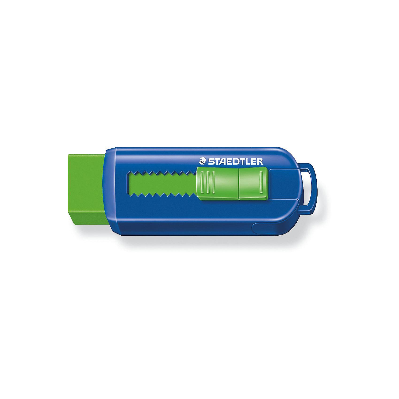 Ластик 525 PS, Staedtler, цвет в ассортиментеЧертежные принадлежности<br>Уникальный дизайн ластика 525PS со скользящей пластиковой манжеткой. Не содержит ПВХ, а также фталата и латекса. Минимальное количество крошек. Удобство в использовании благодаря выдвижному механизму.<br><br>Ширина мм: 86<br>Глубина мм: 26<br>Высота мм: 220<br>Вес г: 28<br>Возраст от месяцев: 36<br>Возраст до месяцев: 2147483647<br>Пол: Унисекс<br>Возраст: Детский<br>SKU: 5529981