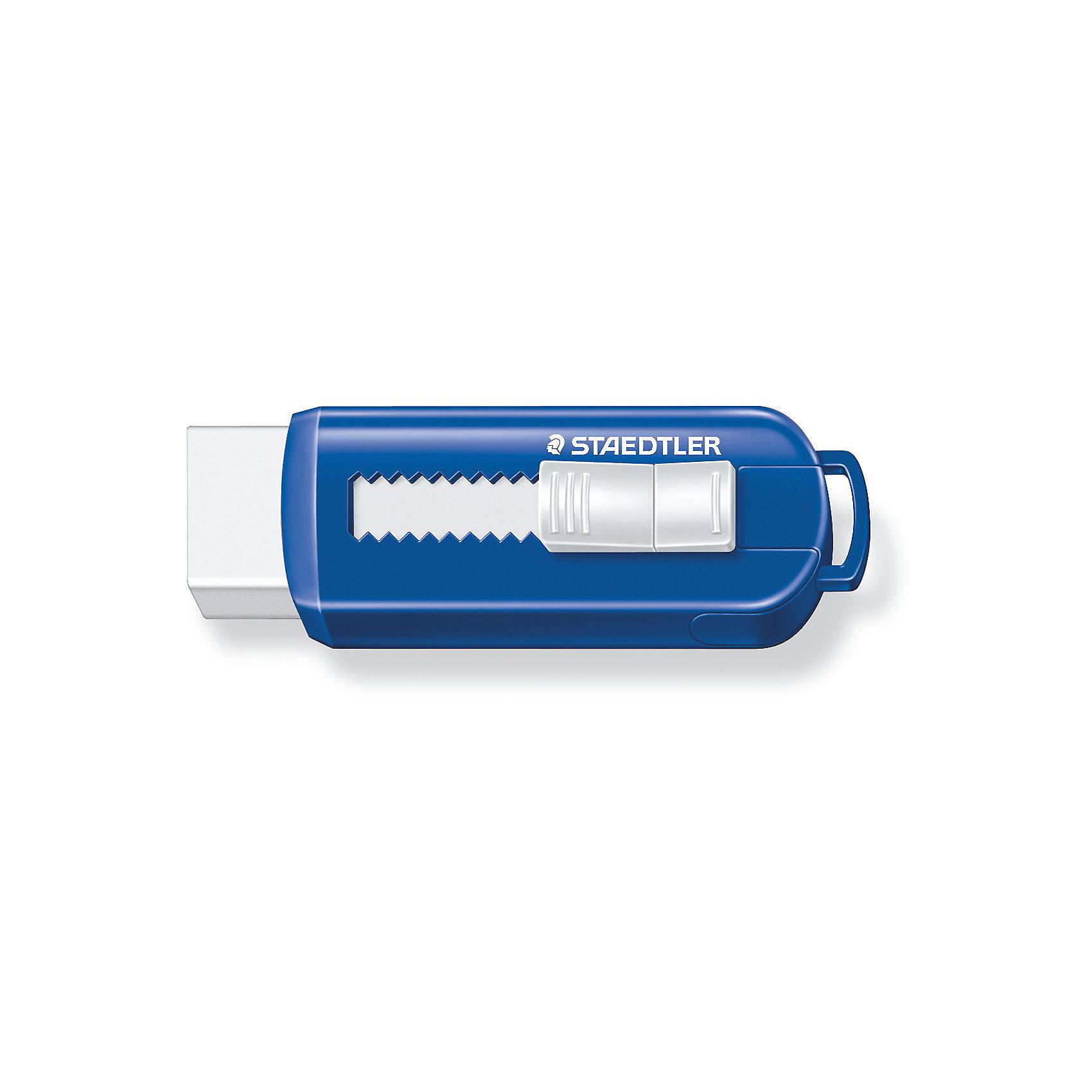 Ластик 525 PS, синий/белый, StaedtlerЧертежные принадлежности<br>Ластик 525 PS, синий/белый, Staedtler (Штедлер).<br><br>Характеристики:<br><br>• Для детей в возрасте: от 3 лет<br>• Материал: термопластический синтетический каучук<br>• Не содержит ПВХ, а также фталата и латекса<br>• Цвет: белый, синий<br>• Размер упаковки: 87х25х17 мм.<br><br>Ластик в пластиковом корпусе со скользящей пластиковой манжеткой обеспечивает лёгкое и чистое стирание. Количество крошек минимальное. Ластик удобен в использовании благодаря выдвижному механизму. Изготовлен из термопластического синтетического каучука, гипоаллергенен.<br><br>Ластик 525 PS, Staedtler (Штедлер) можно купить в нашем интернет-магазине.<br><br>Ширина мм: 86<br>Глубина мм: 26<br>Высота мм: 220<br>Вес г: 28<br>Возраст от месяцев: 36<br>Возраст до месяцев: 2147483647<br>Пол: Унисекс<br>Возраст: Детский<br>SKU: 5529982