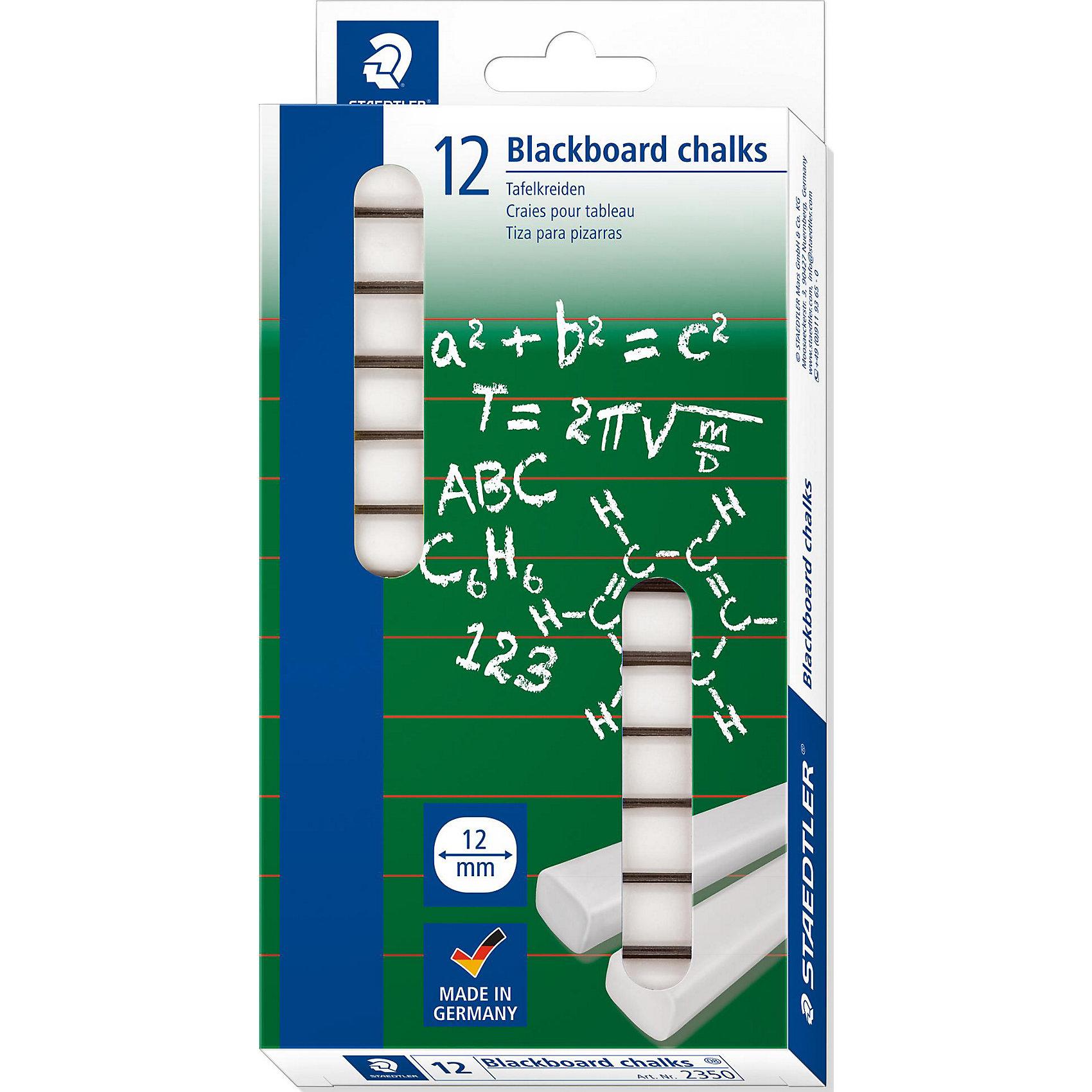 Мелки для доски STAEDTLER белые, 12 шт.Рисование<br>Мелки для доски STAEDTLER белые, 12 шт.<br><br>Характеристики:<br><br>• Для детей в возрасте: от 3 лет<br>• Количество: 12 мелков<br>• Цвет: белый<br>• Держатель: бумажная манжетка<br>• Упаковка: картонная коробка с европодвесом<br>• Размер упаковки: 206х103х19 мм.<br>• Вес: 138 гр.<br><br>Набор белых мелков от STAEDTLER предназначен для меловых досок. В наборе 12 мелков. Каждый мелок обернут в бумажную манжетку. Прекрасно ложатся и легко стираются с поверхности. На мелки нанесено специальное покрытие, благодаря которому они не пачкают руки, не оставляют пыль, не крошатся.<br><br>Мелки для доски STAEDTLER белые, 12 шт. можно купить в нашем интернет-магазине.<br><br>Ширина мм: 209<br>Глубина мм: 100<br>Высота мм: 200<br>Вес г: 143<br>Возраст от месяцев: 36<br>Возраст до месяцев: 2147483647<br>Пол: Унисекс<br>Возраст: Детский<br>SKU: 5529987