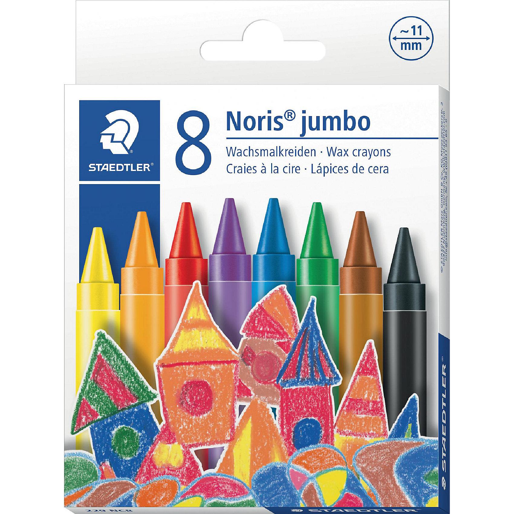 Мелок восковой Noris Club  Jumbo, 8 цветов, StaedtlerРисование<br>Мелок восковой Noris Club  Jumbo, 8 цветов, Staedtler (Штедлер).<br><br>Характеристики:<br><br>• Для детей в возрасте: от 3 лет<br>• В наборе: 8 ярких разноцветных  мелков<br>• Диаметр: 11 мм.<br>• Держатель: бумажная манжетка с полем для имени<br>• Упаковка: картонная коробка с европодвесом<br>• Размер упаковки: 120х94х12 мм.<br>• Вес:74 гр.<br><br>Набор восковых мелков Noris Club Jumbo непременно, понравится вашему юному художнику. В наборе 8 ярких мелков. Мелки разработаны специально для маленьких детей. Изготовлены с использованием натурального пчелиного воска. Идеальны для раскрашивания больших поверхностей. Высокая устойчивость к поломке. Бумажная манжетка позволяет удобно держать мелок и не пачкать руки.<br><br>Мелок восковой Noris Club  Jumbo, 8 цветов, Staedtler (Штедлер) можно купить в нашем интернет-магазине.<br><br>Ширина мм: 125<br>Глубина мм: 140<br>Высота мм: 120<br>Вес г: 850<br>Возраст от месяцев: 36<br>Возраст до месяцев: 2147483647<br>Пол: Унисекс<br>Возраст: Детский<br>SKU: 5529988