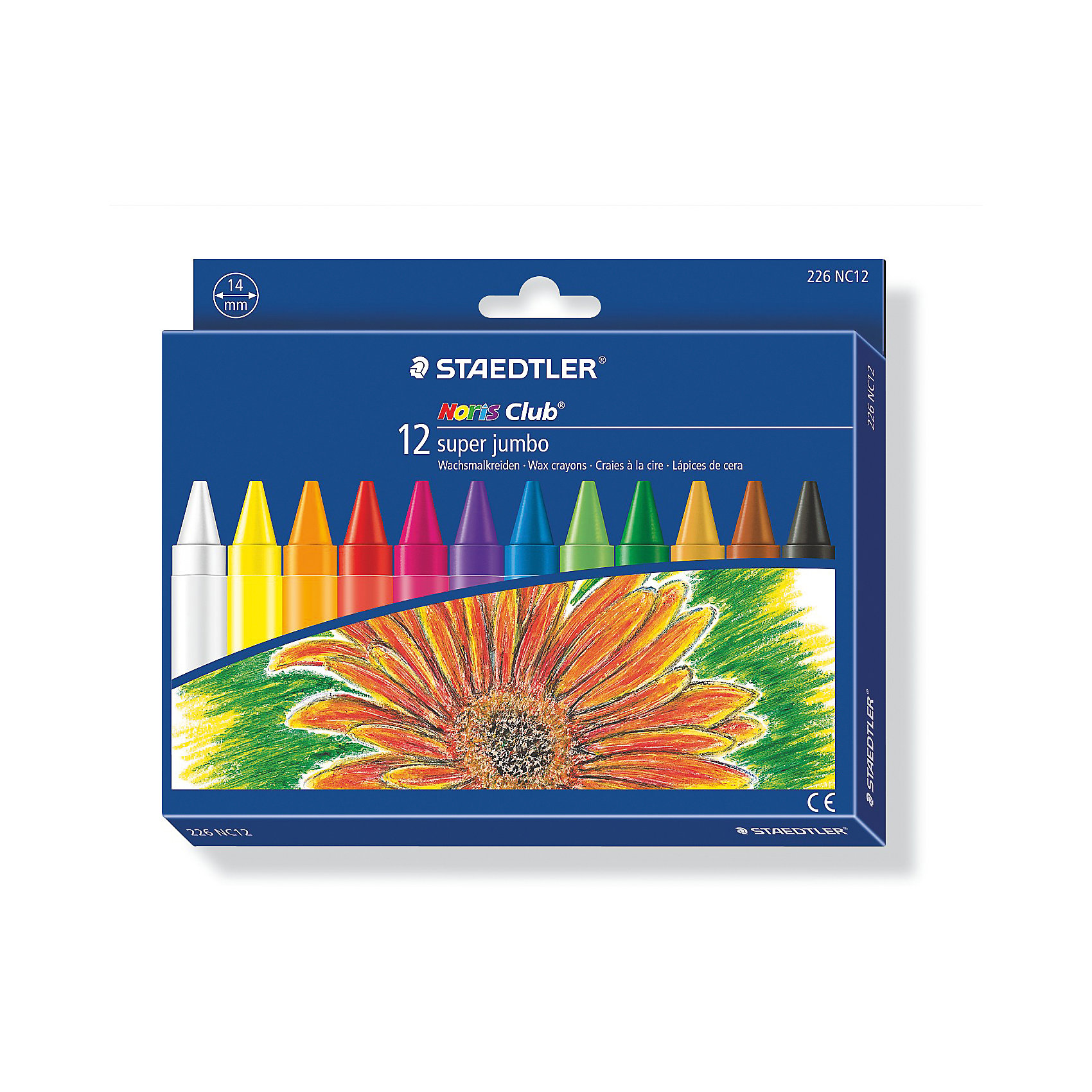 Мелок восковой Noris Club  Super Jumbo, 12 цветов, StaedtlerМасляные и восковые мелки<br>Мелок восковой Noris Club  Super Jumbo, 12 цветов, Staedtler (Штедлер).<br><br>Характеристики:<br><br>• Для детей в возрасте: от 3 лет<br>• В наборе: 12 ярких разноцветных  мелков<br>• Диаметр: 14 мм.<br>• Держатель: бумажная манжетка с полем для имени<br>• Упаковка: картонная коробка с европодвесом<br>• Размер упаковки: 143х177х15 мм.<br>• Вес: 230 гр.<br><br>Набор восковых мелков Noris Club Super Jumbo непременно, понравится вашему юному художнику. В наборе 12 ярких мелков. Мелки разработаны специально для маленьких детей. Изготовлены с использованием натурального пчелиного воска. Идеальны для раскрашивания больших поверхностей. Высокая устойчивость к поломке. Бумажная манжетка позволяет удобно держать мелок и не пачкать руки.<br><br>Мелок восковой Noris Club  Super Jumbo, 12 цветов, Staedtler (Штедлер) можно купить в нашем интернет-магазине.<br><br>Ширина мм: 147<br>Глубина мм: 181<br>Высота мм: 160<br>Вес г: 252<br>Возраст от месяцев: 36<br>Возраст до месяцев: 2147483647<br>Пол: Унисекс<br>Возраст: Детский<br>SKU: 5529989