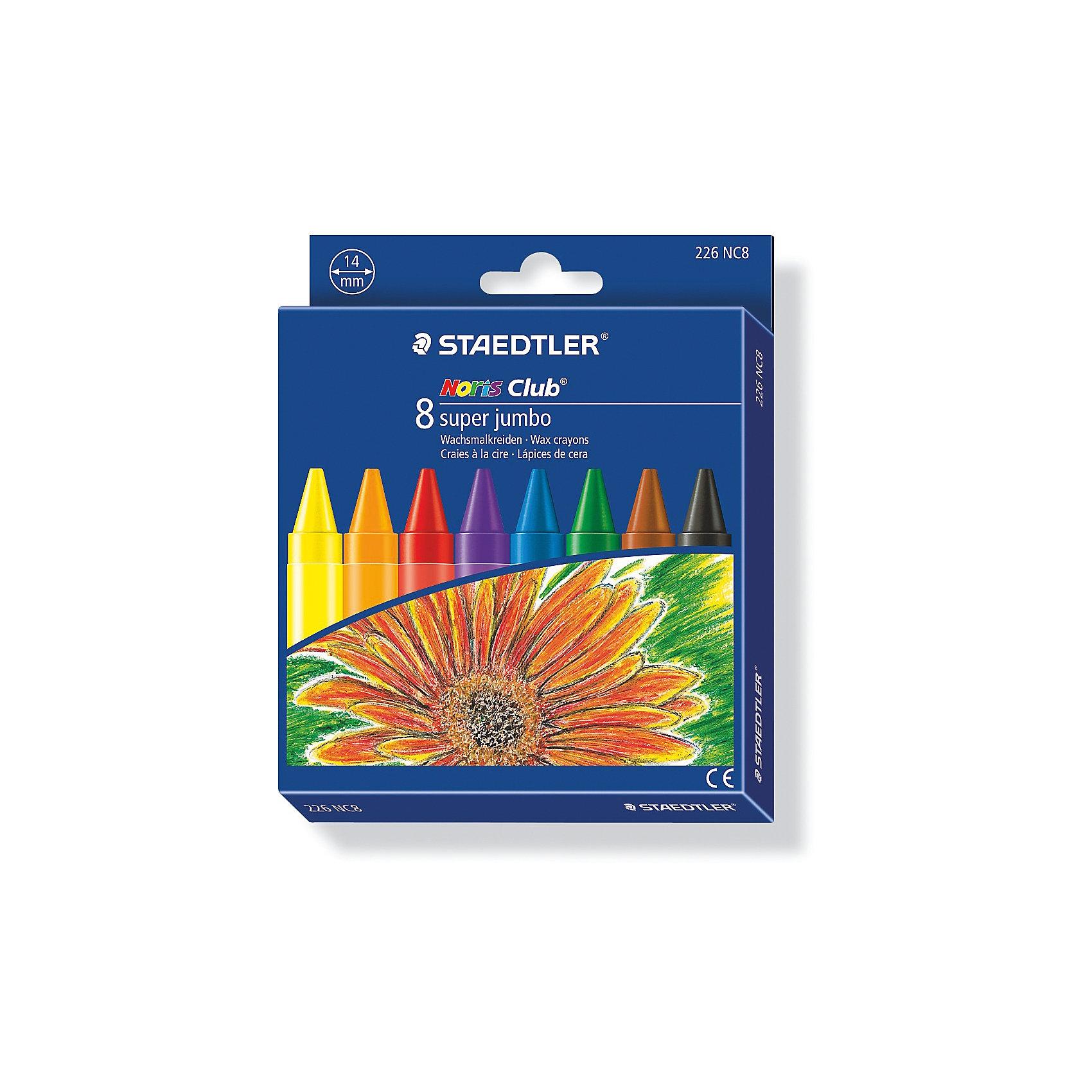 Мелок восковой Noris Club  Super Jumbo, 8 цветов, StaedtlerМасляные и восковые мелки<br>Мелок восковой Noris Club  Super Jumbo, 8 цветов, Staedtler (Штедлер).<br><br>Характеристики:<br><br>• Для детей в возрасте: от 3 лет<br>• В наборе: 8 ярких разноцветных  мелков<br>• Диаметр: 14 мм.<br>• Держатель: бумажная манжетка с полем для имени<br>• Упаковка: картонная коробка с европодвесом<br>• Размер упаковки: 145х120х16 мм.<br>• Вес: 156 гр.<br><br>Набор восковых мелков Noris Club Super Jumbo непременно, понравится вашему юному художнику. В наборе 8 ярких мелков. Мелки разработаны специально для маленьких детей. Изготовлены с использованием натурального пчелиного воска. Идеальны для раскрашивания больших поверхностей. Высокая устойчивость к поломке. Бумажная манжетка позволяет удобно держать мелок и не пачкать руки.<br><br>Мелок восковой Noris Club  Super Jumbo, 8 цветов, Staedtler (Штедлер) можно купить в нашем интернет-магазине.<br><br>Ширина мм: 144<br>Глубина мм: 120<br>Высота мм: 170<br>Вес г: 169<br>Возраст от месяцев: 36<br>Возраст до месяцев: 2147483647<br>Пол: Унисекс<br>Возраст: Детский<br>SKU: 5529990