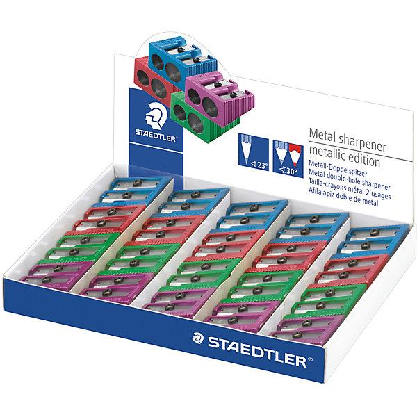 Металлическая точилка c двумя отверстиями, ассорти, StaedtlerКанцтовары для первоклассников<br>Металлическая точилка c двумя отверстиями, ассорти, Staedtler (Штедлер).<br><br>Характеристики:<br><br>• Для детей в возрасте: от 5 лет<br>• В наборе: 1 точилка<br>• Цвет в ассортименте:  зеленый, красный, фиолетовый и синий<br>• Размер упаковки: 30х23х13 мм.<br>• ВНИМАНИЕ! Данный артикул представлен в различном цветовом исполнении. К сожалению, заранее выбрать определенный вариант невозможно. При заказе нескольких точилок возможно получение одинаковых<br><br>Металлическая точилка с двумя отверстиями разного диаметра подходит для стандартных чернографитовых карандашей диаметром до 8,2 мм с углом заточки 23° для получения четких и аккуратных линий. А также для толстых чернографитовых и цветных карандашей диаметром до 10,2 мм, угол заточки 30° для широких и ровных линий.<br><br>Металлическую точилку c двумя отверстиями, ассорти, Staedtler (Штедлер) можно купить в нашем интернет-магазине.<br><br>Ширина мм: 29<br>Глубина мм: 25<br>Высота мм: 150<br>Вес г: 25<br>Возраст от месяцев: 60<br>Возраст до месяцев: 2147483647<br>Пол: Унисекс<br>Возраст: Детский<br>SKU: 5529991