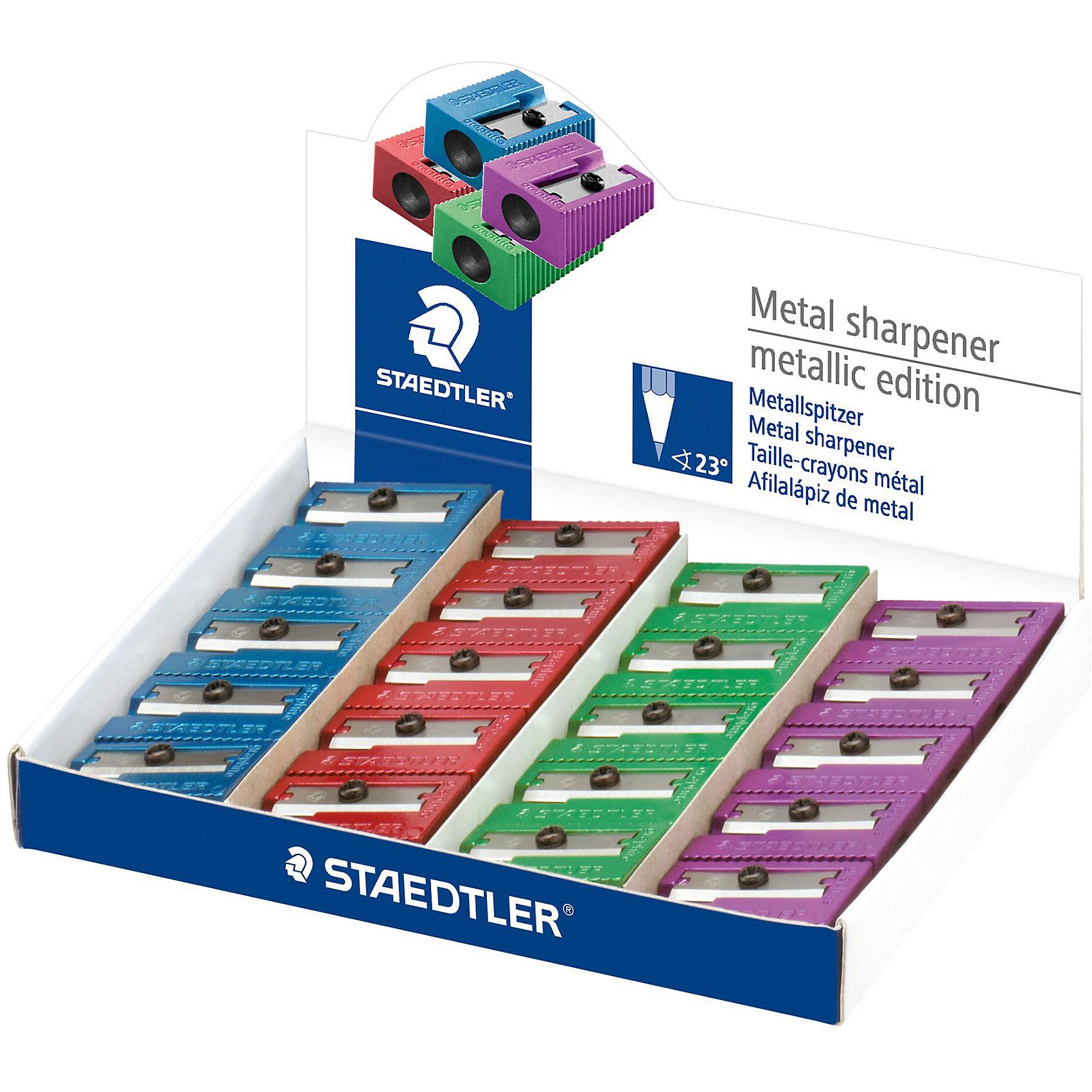 Металлическая точилка c одним отверстием, ассорти, StaedtlerПисьменные принадлежности<br>Металлическая точилка серии 510 10 с одним отверстием в 4-х ярких цветах: зеленый, красный, фиолетовый и синий. Подходит для стандартных чернографитовых карандашей диаметром до 8,2 мм с углом заточки 23° для четких и аккуратных линий.<br><br>Ширина мм: 29<br>Глубина мм: 18<br>Высота мм: 120<br>Вес г: 13<br>Возраст от месяцев: 60<br>Возраст до месяцев: 2147483647<br>Пол: Унисекс<br>Возраст: Детский<br>SKU: 5529992