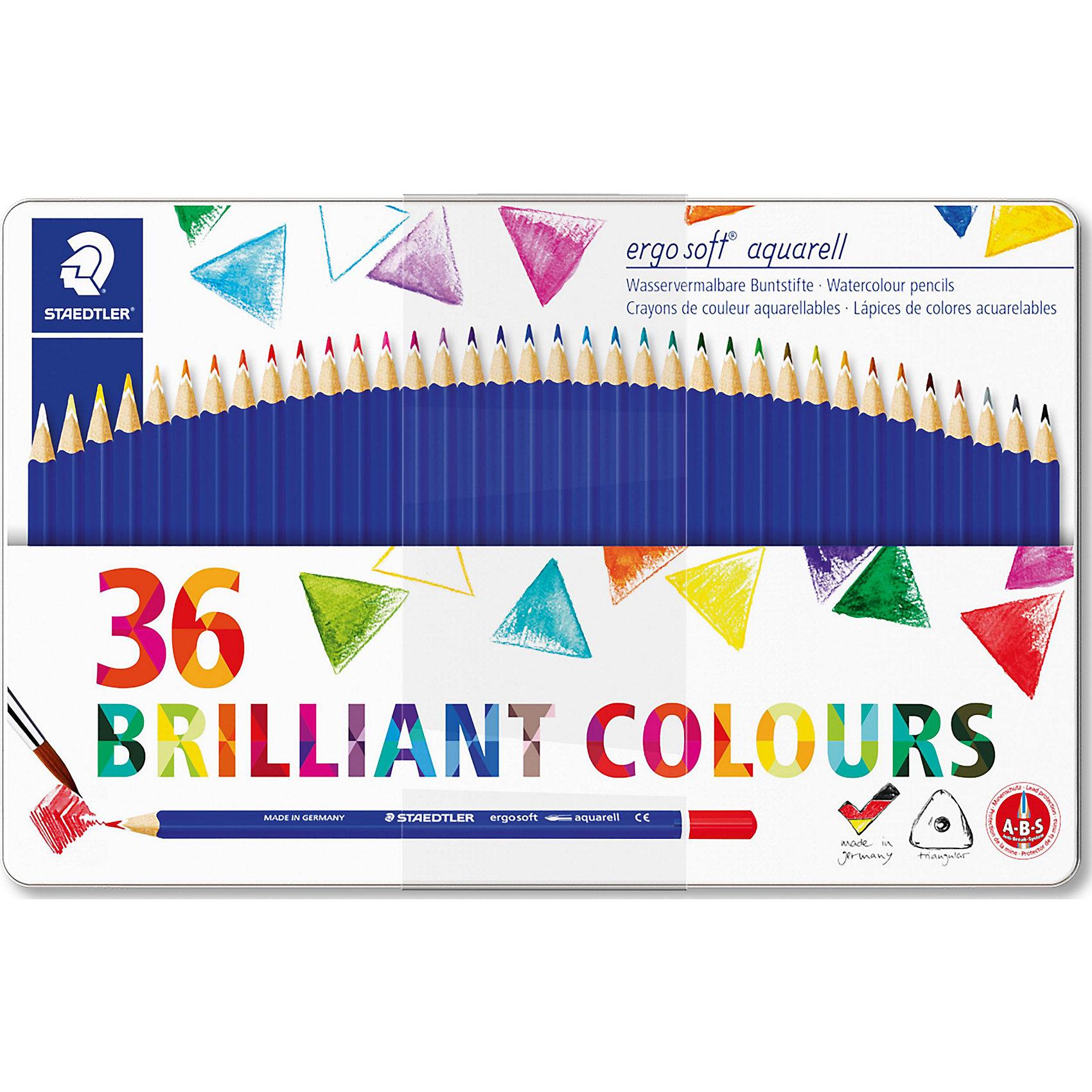 Набор акварельных карандашей ergosoft, трехгранные, 36 цветовРисование и лепка<br>Набор акварельных карандашей ergosoft, трехгранные, 36 цветов.<br><br>Характеристики:<br><br>• Для детей в возрасте: от 5 лет<br>• В наборе: 36 акварельных карандашей<br>• Количество цветов: 36<br>• Материал корпуса: древесина сертифицированных и специально подготовленных лесов<br>• Упаковка: металлическая коробка с подвесом<br>• Размер упаковки: 183x290x10 мм.<br>• Вес: 442 гр.<br><br>Набор цветных акварельных карандашей ergosoft в металлической упаковке с подвесом, непременно, понравится вашему юному художнику. Набор включает в себя 36 акварельных карандашей, ярких насыщенных цветов. Карандашами можно рисовать как обычными цветными или создавать разнообразные акварельные эффекты, намочив грифель водой или размыв сухой рисунок кисточкой. Карандаши имеют эргономичную трехгранную форму для удобного и легкого письма, уникальное нескользящее мягкое покрытие с полем для имени, очень мягкий и яркий грифель. Система защиты от поломки ABS (Anti-break-system) увеличивает устойчивость и сокращает ломкость грифеля. Карандаши легко затачивать. Корпус карандашей изготовлен из древесины сертифицированных и специально подготовленных лесов.<br><br>Набор акварельных карандашей ergosoft, трехгранные, 36 цветов можно купить в нашем интернет-магазине.<br><br>Ширина мм: 292<br>Глубина мм: 183<br>Высота мм: 110<br>Вес г: 441<br>Возраст от месяцев: 60<br>Возраст до месяцев: 144<br>Пол: Унисекс<br>Возраст: Детский<br>SKU: 5529993