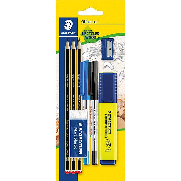 Набор из 8 предметов, StaedtlerШкольные аксессуары<br>Набор из 8 предметов, Staedtler (Штедлер).<br><br>Характеристики:<br><br>• Для детей в возрасте: от 7 лет<br>• В наборе: 2 шариковые ручки-автомат синего и черного цветов, 3 чернографитовых карандаша (HB), текстовыделитель желтого цвета, ластик, точилка<br>• Размер упаковки: 233х90х25 мм.<br>• Вес: 102 гр.<br><br>Набор содержит самые необходимые для учебы канцелярские принадлежности. Всего в наборе 8 предметов. Текстовыделитель с большим объемом чернил для экстра долгой работы не смазывает распечатки и написанный текст. Ластик Mars plastic, изготовленный из термопластического синтетического гипоаллергенного каучука, прекрасно удаляет графит с бумаги и чертежной кальки, не оставляет крошек. Пластиковая точилка с металлическим лезвием обеспечит лёгкое равномерное затачивание карандашей (угол заточки 23°). Три высококачественных шестигранных заточенных карандаша, твердость HB, имеют особо прочный грифель, устойчивы к поломке. Корпус карандашей изготовлен из инновационного, однородного материала Wopex (70% древесины + пластиковый композит), что обеспечивает исключительно гладкую и ровную заточку. Также в наборе имеются 2 шариковые ручки-автомат  синего и черного цветов. Производитель Stadtler (Германия).<br><br>Набор из 8 предметов, Staedtler (Штедлер) можно купить в нашем интернет-магазине.<br>Ширина мм: 235; Глубина мм: 91; Высота мм: 250; Вес г: 100; Возраст от месяцев: 84; Возраст до месяцев: 2147483647; Пол: Унисекс; Возраст: Детский; SKU: 5529995;