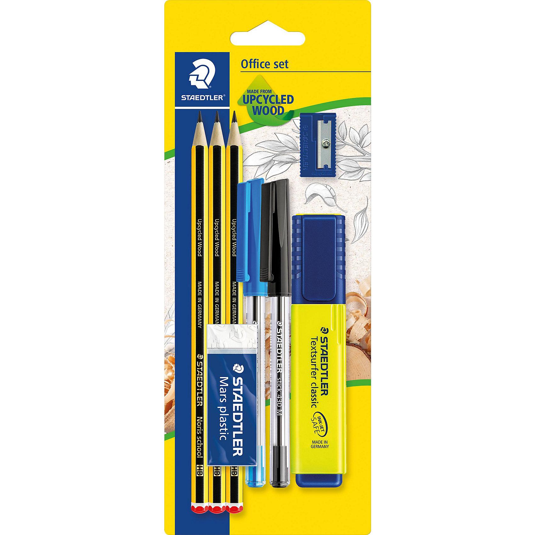 Набор из 8 предметов, StaedtlerШкольные аксессуары<br>Набор из 8 предметов, Staedtler (Штедлер).<br><br>Характеристики:<br><br>• Для детей в возрасте: от 7 лет<br>• В наборе: 2 шариковые ручки-автомат синего и черного цветов, 3 чернографитовых карандаша (HB), текстовыделитель желтого цвета, ластик, точилка<br>• Размер упаковки: 233х90х25 мм.<br>• Вес: 102 гр.<br><br>Набор содержит самые необходимые для учебы канцелярские принадлежности. Всего в наборе 8 предметов. Текстовыделитель с большим объемом чернил для экстра долгой работы не смазывает распечатки и написанный текст. Ластик Mars plastic, изготовленный из термопластического синтетического гипоаллергенного каучука, прекрасно удаляет графит с бумаги и чертежной кальки, не оставляет крошек. Пластиковая точилка с металлическим лезвием обеспечит лёгкое равномерное затачивание карандашей (угол заточки 23°). Три высококачественных шестигранных заточенных карандаша, твердость HB, имеют особо прочный грифель, устойчивы к поломке. Корпус карандашей изготовлен из инновационного, однородного материала Wopex (70% древесины + пластиковый композит), что обеспечивает исключительно гладкую и ровную заточку. Также в наборе имеются 2 шариковые ручки-автомат  синего и черного цветов. Производитель Stadtler (Германия).<br><br>Набор из 8 предметов, Staedtler (Штедлер) можно купить в нашем интернет-магазине.<br><br>Ширина мм: 235<br>Глубина мм: 91<br>Высота мм: 250<br>Вес г: 100<br>Возраст от месяцев: 84<br>Возраст до месяцев: 2147483647<br>Пол: Унисекс<br>Возраст: Детский<br>SKU: 5529995