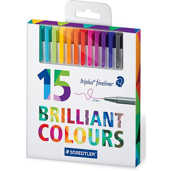 Набор капиллярных ручек Triplus, 15 цветов, StaedtlerПисьменные принадлежности<br>Набор капиллярных ручек Triplus, 15 цветов, Staedtler (Штедлер).<br><br>Характеристики:<br><br>• Для детей в возрасте: от 5 лет<br>• В наборе: 15 разноцветных ручек<br>• Яркие цвета<br>• Цвет чернил соответствует цвету колпачка и заглушки<br>• Чернила на водной основе<br>• Отстирывается с большинства тканей<br>• Материал корпуса: полипропилен<br>• Толщина линии: 0,3 мм.<br>• Упаковка: картонная коробка с европодвесом<br>• Вес: 154 гр.<br><br>Набор трехгранных капиллярных ручек Triplus ® fineliner в картонной упаковке с европодвесом идеально подходит как для письма и работы с документами, так и для творчества. Эргономичная форма обеспечивает комфортное письмо без усилий и усталости. Супертонкий и особо прочный металлический наконечник гарантирует мягкое и плавное письмо. Уникальная система позволяет оставлять ручку без колпачка на несколько дней без угрозы высыхания (тест ISO). Корпус из полипропилена и большой запас чернил гарантирует долгий срок службы.<br><br>Набор капиллярных ручек Triplus, 15 цветов, Staedtler (Штедлер) можно купить в нашем интернет-магазине.<br><br>Ширина мм: 165<br>Глубина мм: 147<br>Высота мм: 150<br>Вес г: 154<br>Возраст от месяцев: 60<br>Возраст до месяцев: 2147483647<br>Пол: Унисекс<br>Возраст: Детский<br>SKU: 5529997