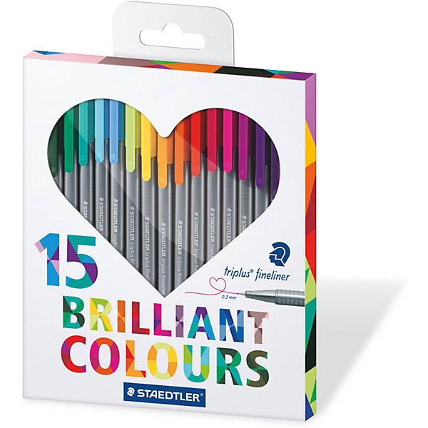 Набор капиллярных ручек Triplus, 15 цветов, StaedtlerПисьменные принадлежности<br>Набор капиллярных ручек Triplus, 15 цветов, Staedtler (Штедлер).<br><br>Характеристики:<br><br>• Для детей в возрасте: от 5 лет<br>• В наборе: 15 разноцветных ручек<br>• Яркие цвета<br>• Цвет чернил соответствует цвету колпачка и заглушки<br>• Чернила на водной основе<br>• Отстирывается с большинства тканей<br>• Материал корпуса: полипропилен<br>• Толщина линии: 0,3 мм.<br>• Упаковка: картонная коробка с европодвесом<br>• Размер упаковки: 205х171х15 мм.<br>• Вес: 196 гр.<br><br>Набор трехгранных капиллярных ручек Triplus ® fineliner в картонной упаковке с европодвесом идеально подходит как для письма и работы с документами, так и для творчества. Эргономичная форма обеспечивает комфортное письмо без усилий и усталости. Супертонкий и особо прочный металлический наконечник гарантирует мягкое и плавное письмо. Уникальная система позволяет оставлять ручку без колпачка на несколько дней без угрозы высыхания (тест ISO). Корпус из полипропилена и большой запас чернил гарантирует долгий срок службы.<br><br>Набор капиллярных ручек Triplus, 15 цветов, Staedtler (Штедлер) можно купить в нашем интернет-магазине.<br>Ширина мм: 207; Глубина мм: 170; Высота мм: 150; Вес г: 200; Возраст от месяцев: 60; Возраст до месяцев: 2147483647; Пол: Унисекс; Возраст: Детский; SKU: 5529998;