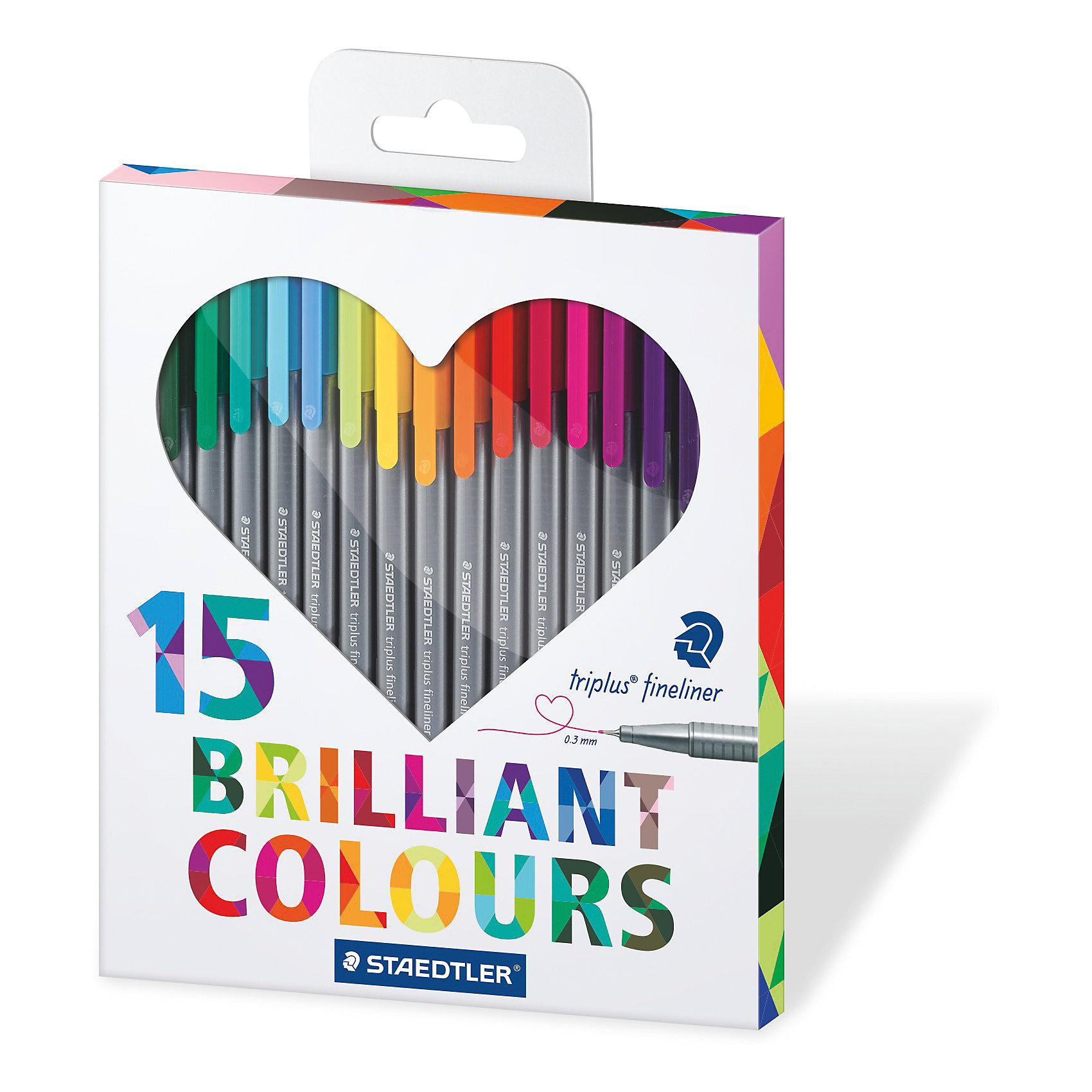 Набор капиллярных ручек Triplus, 15 цветов, StaedtlerПисьменные принадлежности<br>Набор капиллярных ручек Triplus, 15 цветов, Staedtler (Штедлер).<br><br>Характеристики:<br><br>• Для детей в возрасте: от 5 лет<br>• В наборе: 15 разноцветных ручек<br>• Яркие цвета<br>• Цвет чернил соответствует цвету колпачка и заглушки<br>• Чернила на водной основе<br>• Отстирывается с большинства тканей<br>• Материал корпуса: полипропилен<br>• Толщина линии: 0,3 мм.<br>• Упаковка: картонная коробка с европодвесом<br>• Размер упаковки: 205х171х15 мм.<br>• Вес: 196 гр.<br><br>Набор трехгранных капиллярных ручек Triplus ® fineliner в картонной упаковке с европодвесом идеально подходит как для письма и работы с документами, так и для творчества. Эргономичная форма обеспечивает комфортное письмо без усилий и усталости. Супертонкий и особо прочный металлический наконечник гарантирует мягкое и плавное письмо. Уникальная система позволяет оставлять ручку без колпачка на несколько дней без угрозы высыхания (тест ISO). Корпус из полипропилена и большой запас чернил гарантирует долгий срок службы.<br><br>Набор капиллярных ручек Triplus, 15 цветов, Staedtler (Штедлер) можно купить в нашем интернет-магазине.<br><br>Ширина мм: 207<br>Глубина мм: 170<br>Высота мм: 150<br>Вес г: 200<br>Возраст от месяцев: 60<br>Возраст до месяцев: 2147483647<br>Пол: Унисекс<br>Возраст: Детский<br>SKU: 5529998