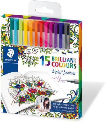 Набор капиллярных ручек Triplus, 15 цветов, яркие цвета, Johanna Basford, Staedtler, артикул:5529999 - Канцтовары