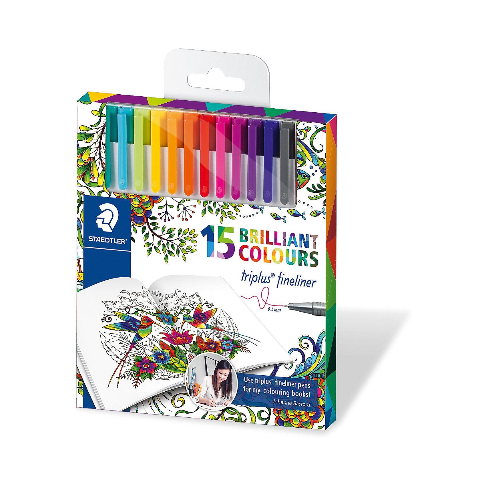 Набор капиллярных ручек Triplus, 15 цветов, яркие цвета, Johanna Basford, StaedtlerПисьменные принадлежности<br>Набор капиллярных ручек Triplus, 15 цветов, яркие цвета, Johanna Basford, Staedtler (Штедлер).<br><br>Характеристики:<br><br>• Для детей в возрасте: от 5 лет<br>• В наборе: 15 разноцветных ручек<br>• Яркие цвета<br>• Специальное издание Johanna Basford (Джоанна Бэсфорд – художник-иллюстратор, создающая уникальные раскраски антистресс)<br>• Цвет чернил соответствует цвету колпачка и заглушки<br>• Чернила на водной основе<br>• Отстирывается с большинства тканей<br>• Материал корпуса: полипропилен<br>• Толщина линии: 0,3 мм.<br>• Упаковка: картонная коробка с европодвесом<br>• Размер упаковки: 163х147х15 мм.<br>• Вес: 146 гр.<br><br>Набор трехгранных капиллярных ручек Triplus ® fineliner в картонной упаковке с европодвесом идеально подходит как для письма и работы с документами, так и для творчества. Эргономичная форма обеспечивает комфортное письмо без усилий и усталости. Супертонкий и особо прочный металлический наконечник гарантирует мягкое и плавное письмо. Уникальная система позволяет оставлять ручку без колпачка на несколько дней без угрозы высыхания (тест ISO). Корпус из полипропилена и большой запас чернил гарантирует долгий срок службы.<br><br>Набор капиллярных ручек Triplus, 15 цветов, яркие цвета, Johanna Basford, Staedtler (Штедлер) можно купить в нашем интернет-магазине.<br><br>Ширина мм: 165<br>Глубина мм: 147<br>Высота мм: 150<br>Вес г: 154<br>Возраст от месяцев: 60<br>Возраст до месяцев: 2147483647<br>Пол: Унисекс<br>Возраст: Детский<br>SKU: 5529999