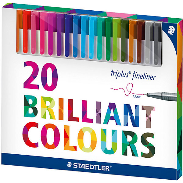 Набор капиллярных ручек Triplus, 20 цветов, яркие цвета, StaedtlerПисьменные принадлежности<br>Набор капиллярных ручек Triplus, 20 цветов, яркие цвета, Staedtler (Штедлер).<br><br>Характеристики:<br><br>• Для детей в возрасте: от 5 лет<br>• В наборе: 20 разноцветных ручек<br>• Яркие цвета<br>• Цвет чернил соответствует цвету колпачка и заглушки<br>• Чернила на водной основе<br>• Отстирывается с большинства тканей<br>• Материал корпуса: полипропилен<br>• Толщина линии: 0,3 мм.<br>• Упаковка: картонная коробка<br>• Размер упаковки: 163х196х15 мм.<br>• Вес: 212 гр.<br><br>Набор трехгранных капиллярных ручек Triplus ® fineliner в картонной упаковке идеально подходит как для письма и работы с документами, так и для творчества. Эргономичная форма обеспечивает комфортное письмо без усилий и усталости. Супертонкий и особо прочный металлический наконечник гарантирует мягкое и плавное письмо. Уникальная система позволяет оставлять ручку без колпачка на несколько дней без угрозы высыхания (тест ISO). Корпус из полипропилена и большой запас чернил гарантирует долгий срок службы.<br><br>Набор капиллярных ручек Triplus, 20 цветов, яркие цвета, Staedtler (Штедлер) можно купить в нашем интернет-магазине.<br><br>Ширина мм: 165<br>Глубина мм: 198<br>Высота мм: 160<br>Вес г: 223<br>Возраст от месяцев: 60<br>Возраст до месяцев: 2147483647<br>Пол: Унисекс<br>Возраст: Детский<br>SKU: 5530000
