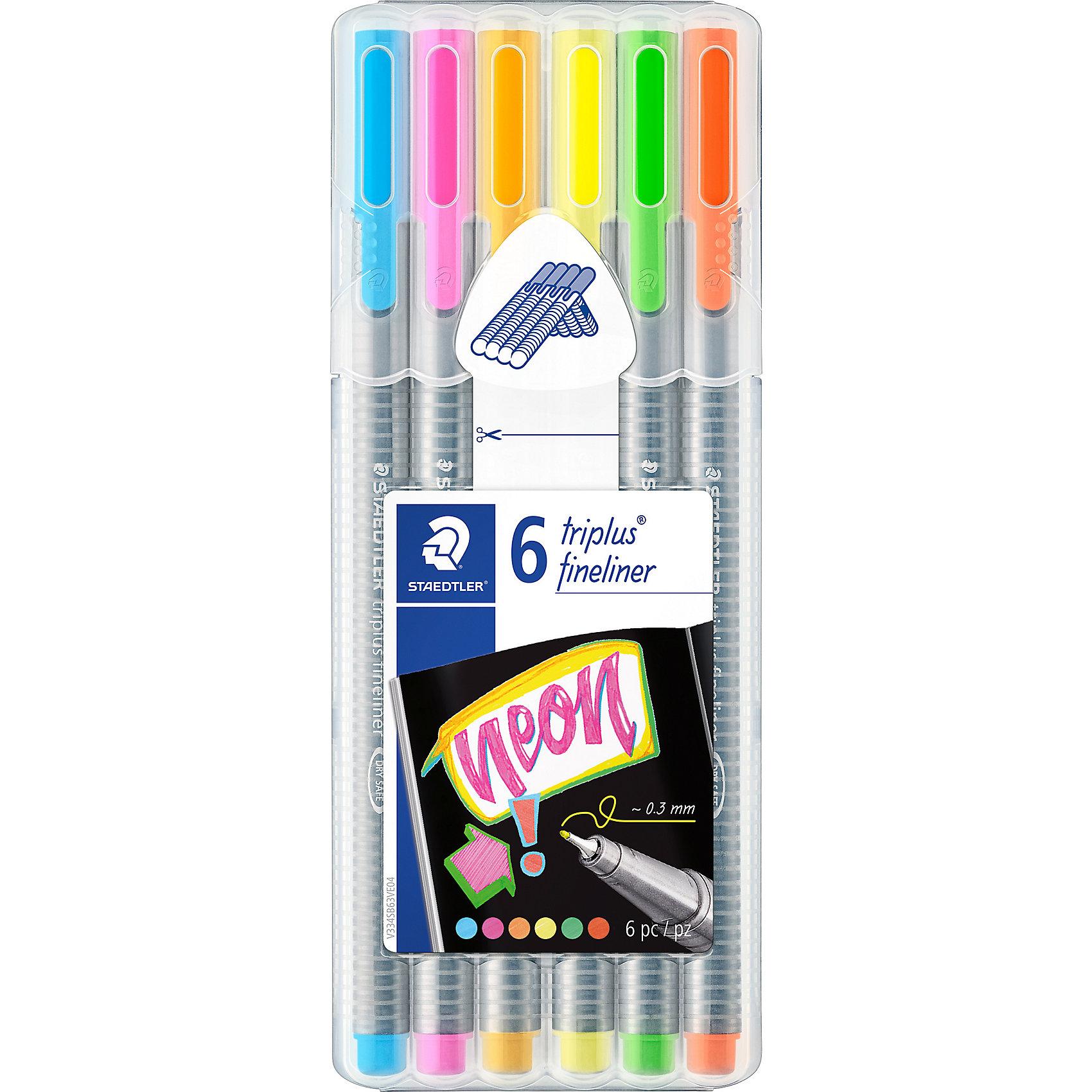 Набор капиллярных ручек Triplus, 6 неоновых цветов, StaedtlerПисьменные принадлежности<br>Набор капиллярных ручек Triplus, 6 неоновых цветов, Staedtler (Штедлер).<br><br>Характеристики:<br><br>• Для детей в возрасте: от 5 лет<br>• В наборе: 6 разноцветных ручек (неоновые цвета)<br>• Цвет чернил соответствует цвету колпачка и заглушки<br>• Чернила на водной основе<br>• Отстирывается с большинства тканей<br>• Материал корпуса: полипропилен<br>• Толщина линии: 0,3 мм.<br>• Упаковка: пластиковая коробка подставка<br>• Размер упаковки: 167х165х14 мм.<br>• Вес:80 гр.<br><br>Набор трехгранных капиллярных ручек Triplus ® fineliner в пластиковой коробке-подставке идеально подходит как для письма и работы с документами, так и для творчества. Эргономичная форма обеспечивает комфортное письмо без усилий и усталости. Супертонкий и особо прочный металлический наконечник гарантирует мягкое и плавное письмо. Уникальная система позволяет оставлять ручку без колпачка на несколько дней без угрозы высыхания (тест ISO). Корпус из полипропилена и большой запас чернил гарантирует долгий срок службы.<br><br>Набор капиллярных ручек Triplus, 6 неоновых цветов, Staedtler  (Штедлер) можно купить в нашем интернет-магазине.<br><br>Ширина мм: 170<br>Глубина мм: 67<br>Высота мм: 170<br>Вес г: 84<br>Возраст от месяцев: 60<br>Возраст до месяцев: 2147483647<br>Пол: Унисекс<br>Возраст: Детский<br>SKU: 5530002