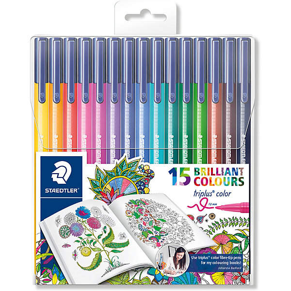 Набор фломастеров Triplus Сolor, 15 цветовФломастеры<br>Набор фломастеров Triplus Сolor, 15 цветов.<br><br>Характеристики:<br><br>• Для детей в возрасте: от 3 лет<br>• В наборе: 15 разноцветных фломастеров ярких цветов<br>• Специальное издание Johanna Basford (Джоанна Бэсфорд – художник-иллюстратор, создающая уникальные раскраски антистресс)<br>• Материал корпуса: полипропилен<br>• Толщина линии: приблизительно 1 мм.<br>• Упаковка: пластиковый футляр с европодвесом<br>• Размер упаковки: 163х142х12 мм.<br>• Вес: 142 гр.<br><br>Набор фломастеров Triplus Color - это 15 ярких фломастеров разных цветов с эргономичным трехгранным корпусом для легкого и удобного письма и рисования. Фломастеры имеют прочный, устойчивый к нажиму пишущий узел, вентилируемый колпачок, чернила на водной основе. Отстирываются с большинства поверхностей. Фломастеры без колпачка, в открытом состоянии не высыхают несколько дней (тест ISO 554). Корпус и колпачок из полипропилена гарантируют долгий срок службы. Упаковка в удобный пластиковый футляр с европодвесом.<br><br>Набор фломастеров Triplus Сolor, 15 цветов можно купить в нашем интернет-магазине.<br><br>Ширина мм: 163<br>Глубина мм: 143<br>Высота мм: 140<br>Вес г: 136<br>Возраст от месяцев: 36<br>Возраст до месяцев: 2147483647<br>Пол: Унисекс<br>Возраст: Детский<br>SKU: 5530004