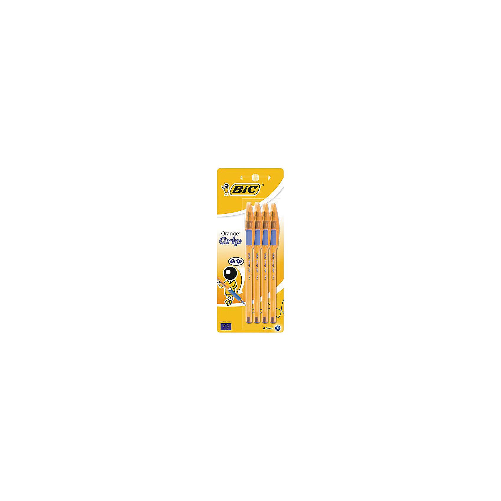 Набор синих шариковых ручек BIC Orange Grip, 4 шт.Письменные принадлежности<br>Набор синих шариковых ручек BIC Orange Grip, 4 шт.<br><br>Характеристики:<br><br>• Возраст: от 5 до 18 лет<br>• В наборе одноразовые шариковые ручки: 4 шт.<br>• Цвет чернил: синий<br>• Толщина линии: 0,35 мм.<br>• Корпус: пластиковый прозрачный, шестигранный<br>• Цвет корпуса: оранжевый<br>• Размер упаковки: 195х80х13 мм.<br><br>Одноразовая шариковая ручка BIC Cristal Orange пишет в 2 раза дольше, чем другие шариковые ручки. Мягкий резиновый грип препятствует скольжению пальцев. Пишущий узел с уменьшенным шариком гарантирует тонкую линию письма. Колпачок вентилируемый.<br><br>Набор синих шариковых ручек BIC Orange Grip, 4 шт. можно купить в нашем интернет-магазине.<br><br>Ширина мм: 18<br>Глубина мм: 80<br>Высота мм: 197<br>Вес г: 32<br>Возраст от месяцев: 60<br>Возраст до месяцев: 2147483647<br>Пол: Унисекс<br>Возраст: Детский<br>SKU: 5530018